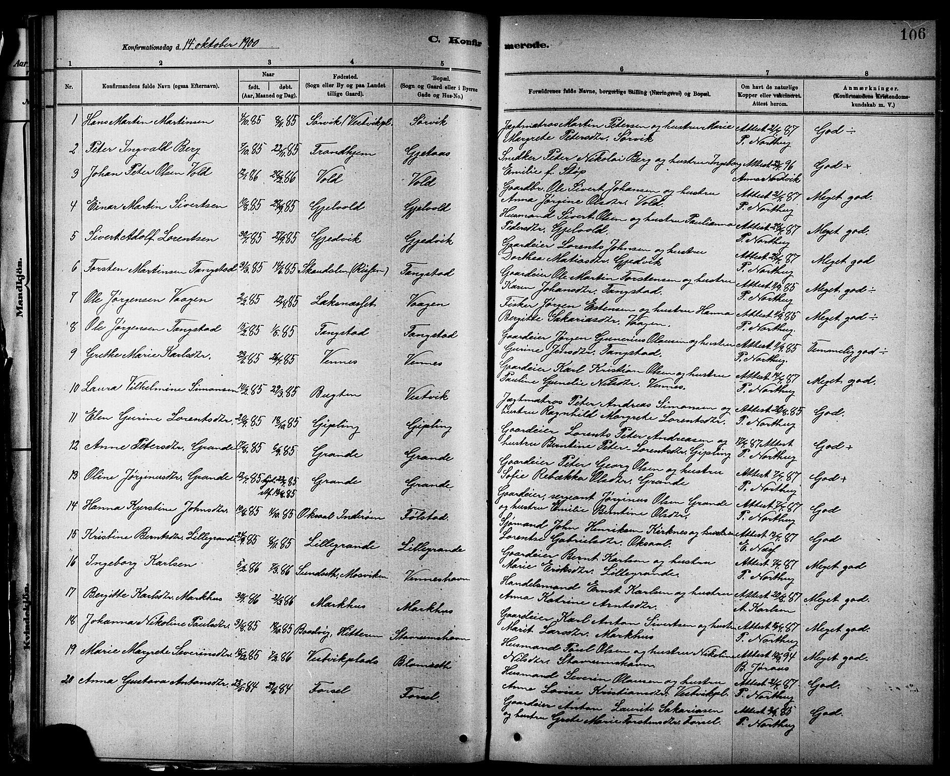 SAT, Ministerialprotokoller, klokkerbøker og fødselsregistre - Nord-Trøndelag, 744/L0423: Klokkerbok nr. 744C02, 1886-1905, s. 106