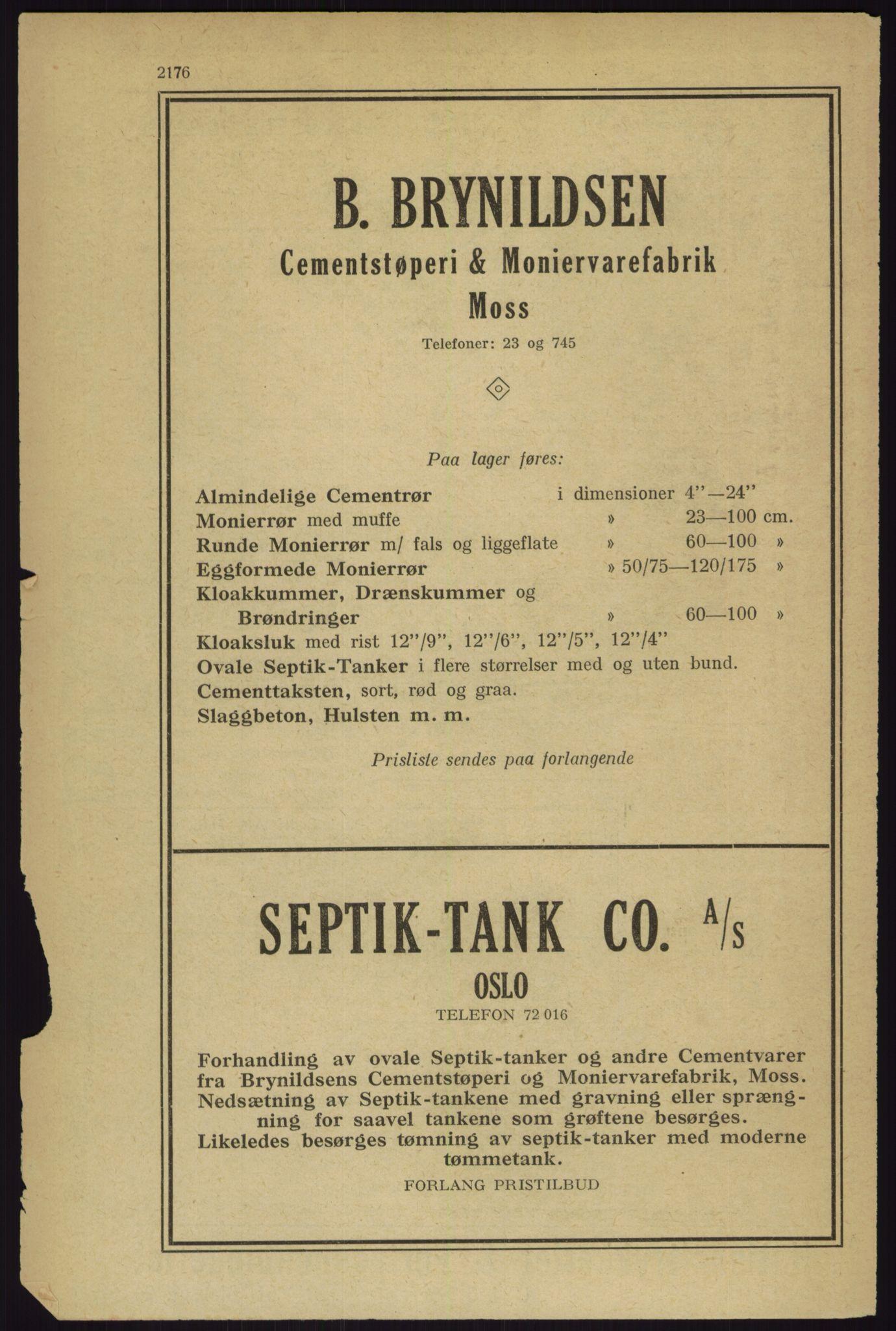 RA, Oslo adressebok (publikasjon)*, 1927, s. 2176