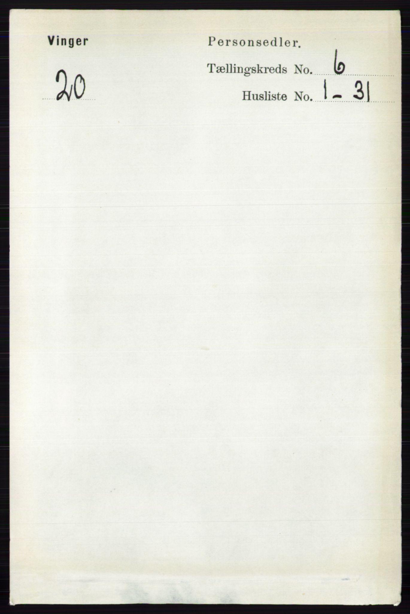 RA, Folketelling 1891 for 0421 Vinger herred, 1891, s. 2611