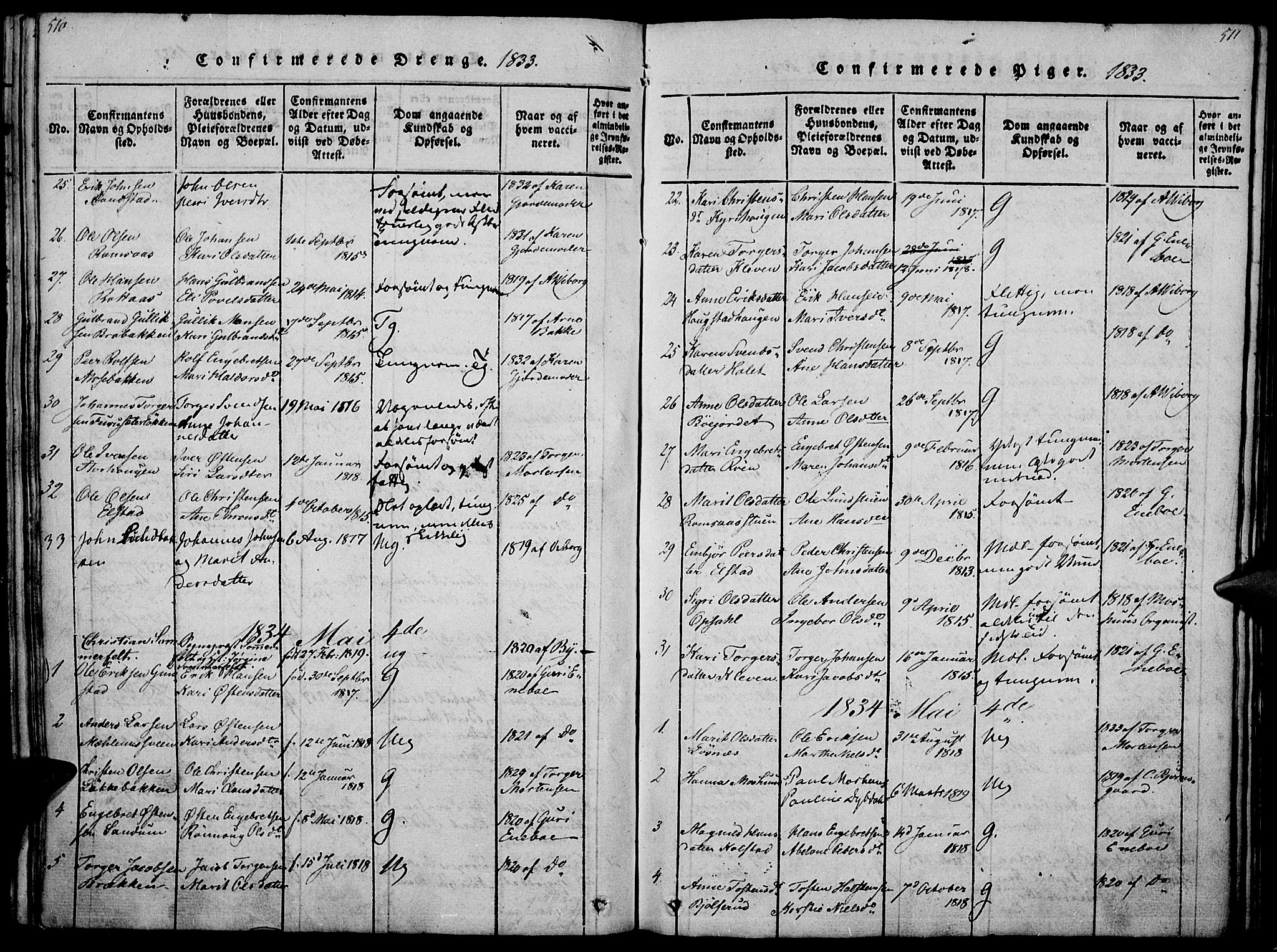 SAH, Ringebu prestekontor, Ministerialbok nr. 4, 1821-1839, s. 510-511