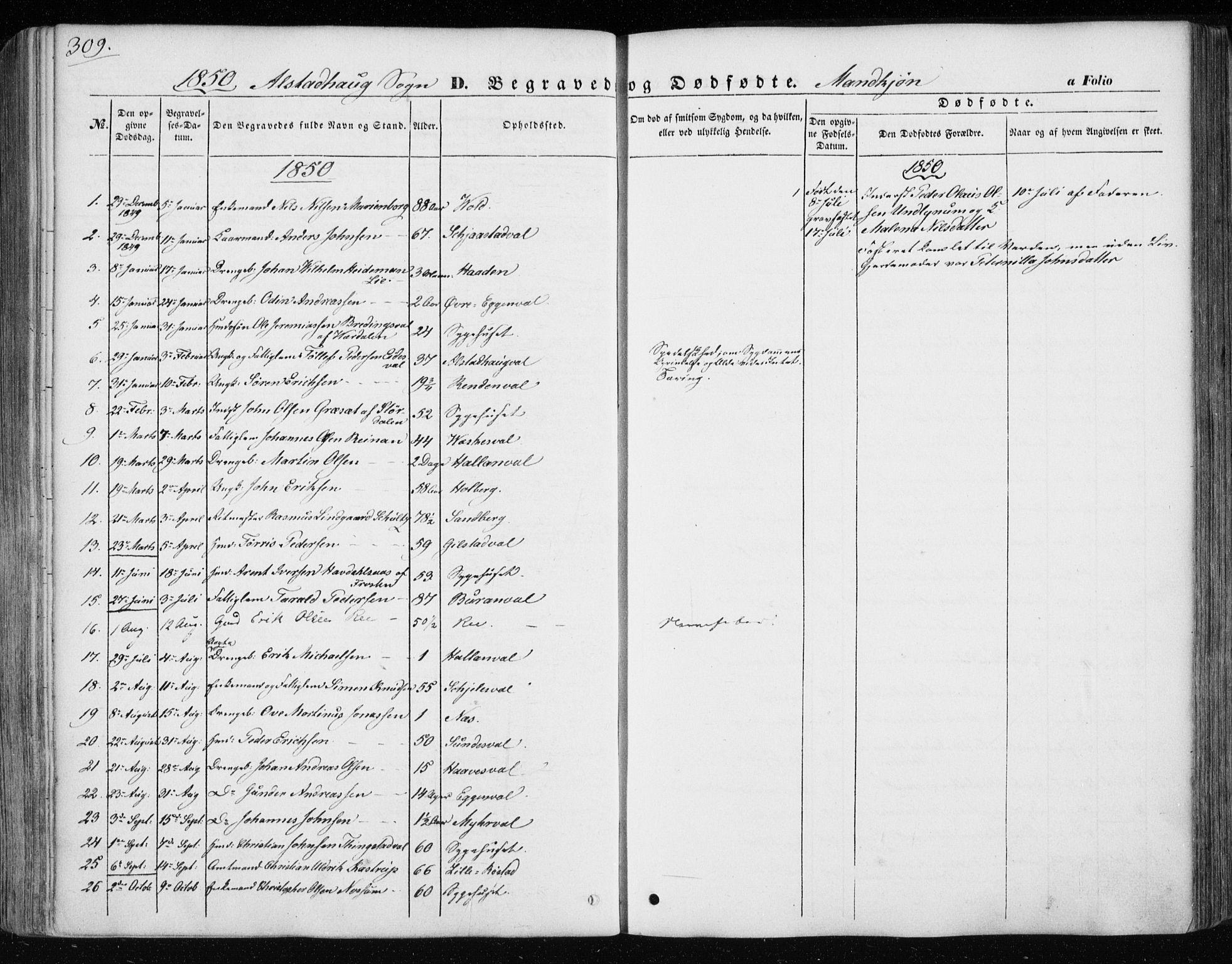 SAT, Ministerialprotokoller, klokkerbøker og fødselsregistre - Nord-Trøndelag, 717/L0154: Ministerialbok nr. 717A07 /1, 1850-1862, s. 309