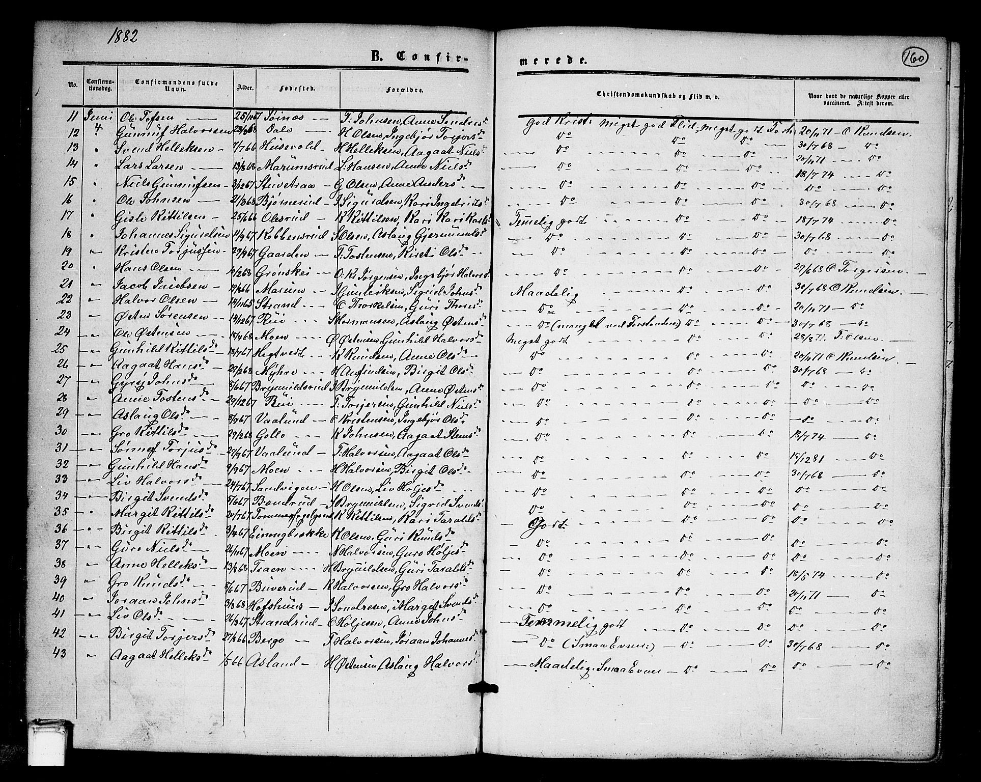 SAKO, Tinn kirkebøker, G/Ga/L0002: Klokkerbok nr. I 2, 1851-1883, s. 160