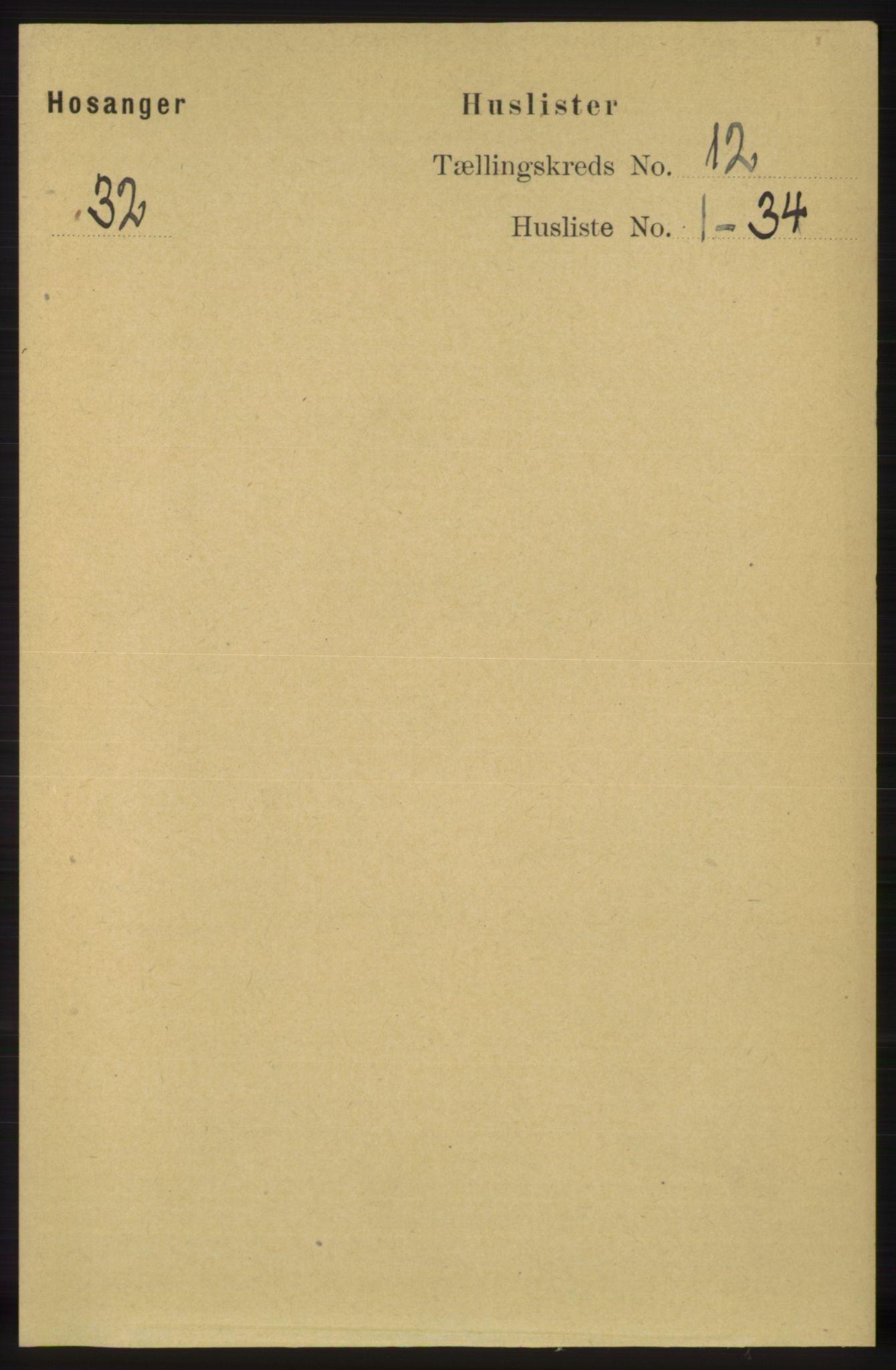 RA, Folketelling 1891 for 1253 Hosanger herred, 1891, s. 3960