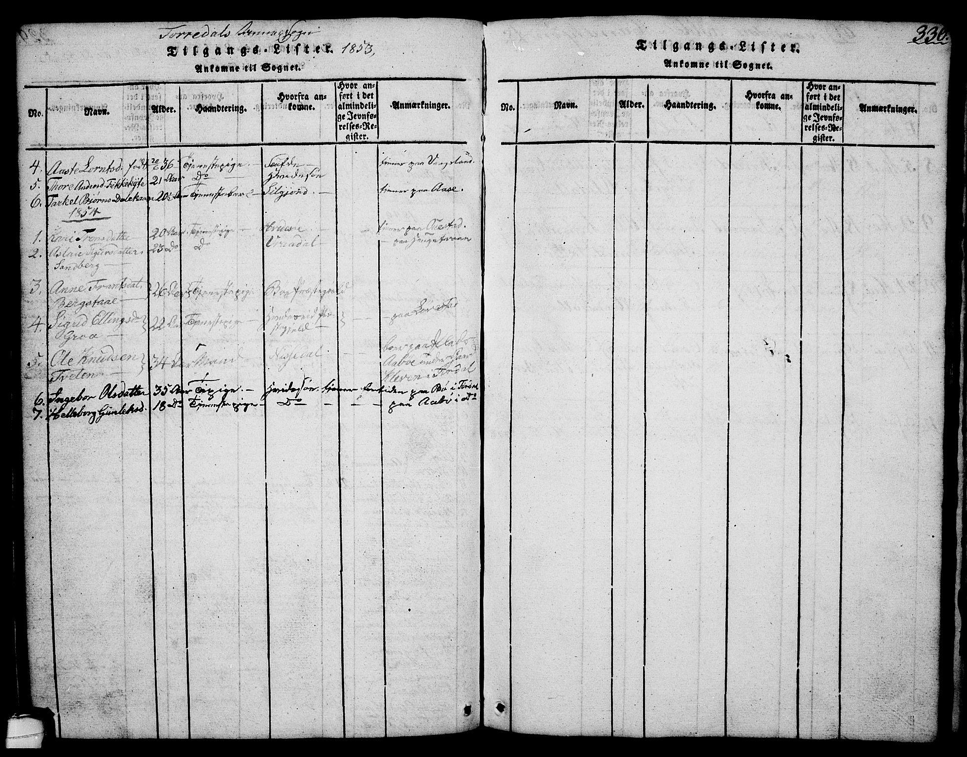 SAKO, Drangedal kirkebøker, G/Ga/L0001: Klokkerbok nr. I 1 /2, 1814-1856, s. 330
