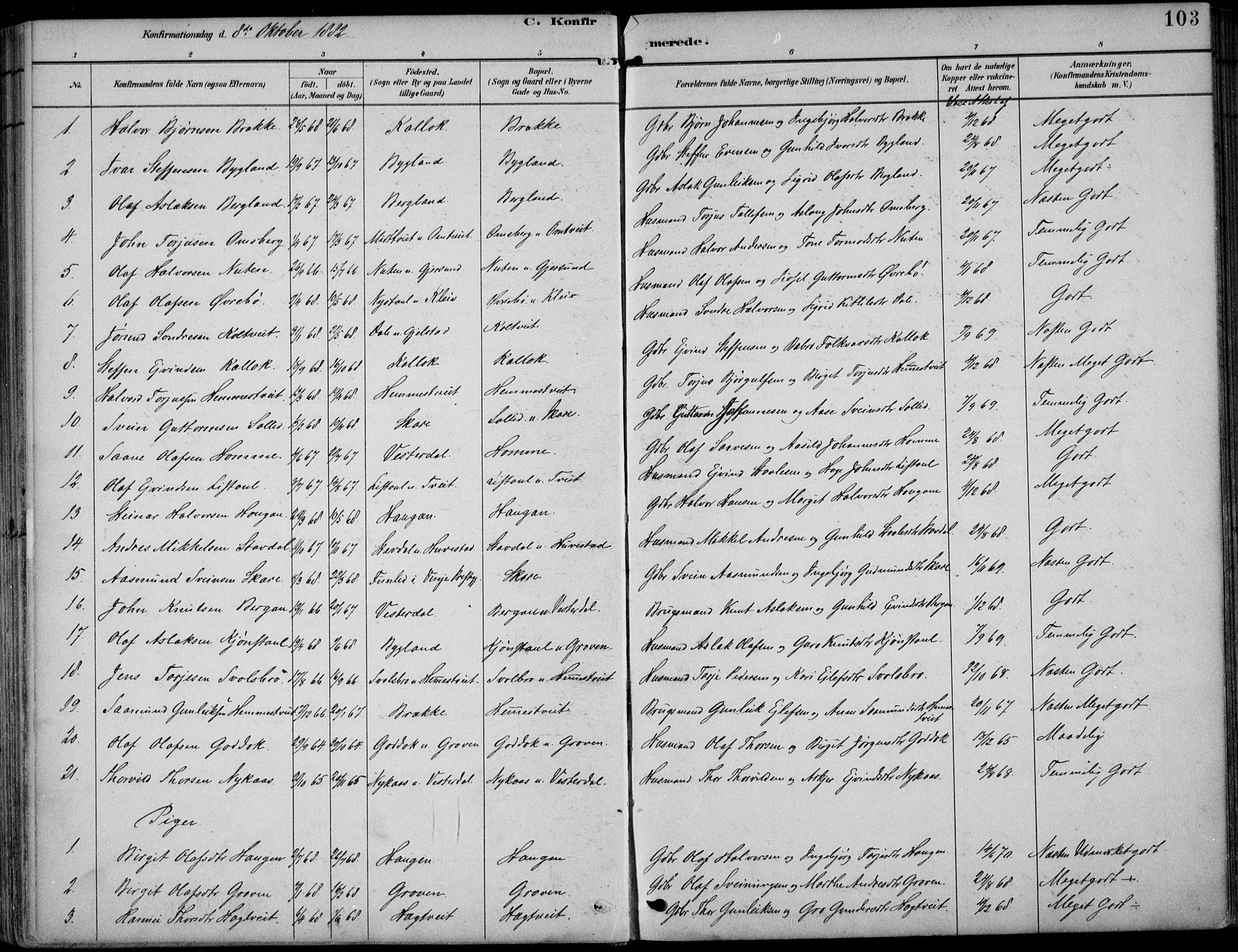 SAKO, Kviteseid kirkebøker, F/Fb/L0002: Ministerialbok nr. II 2, 1882-1916, s. 103