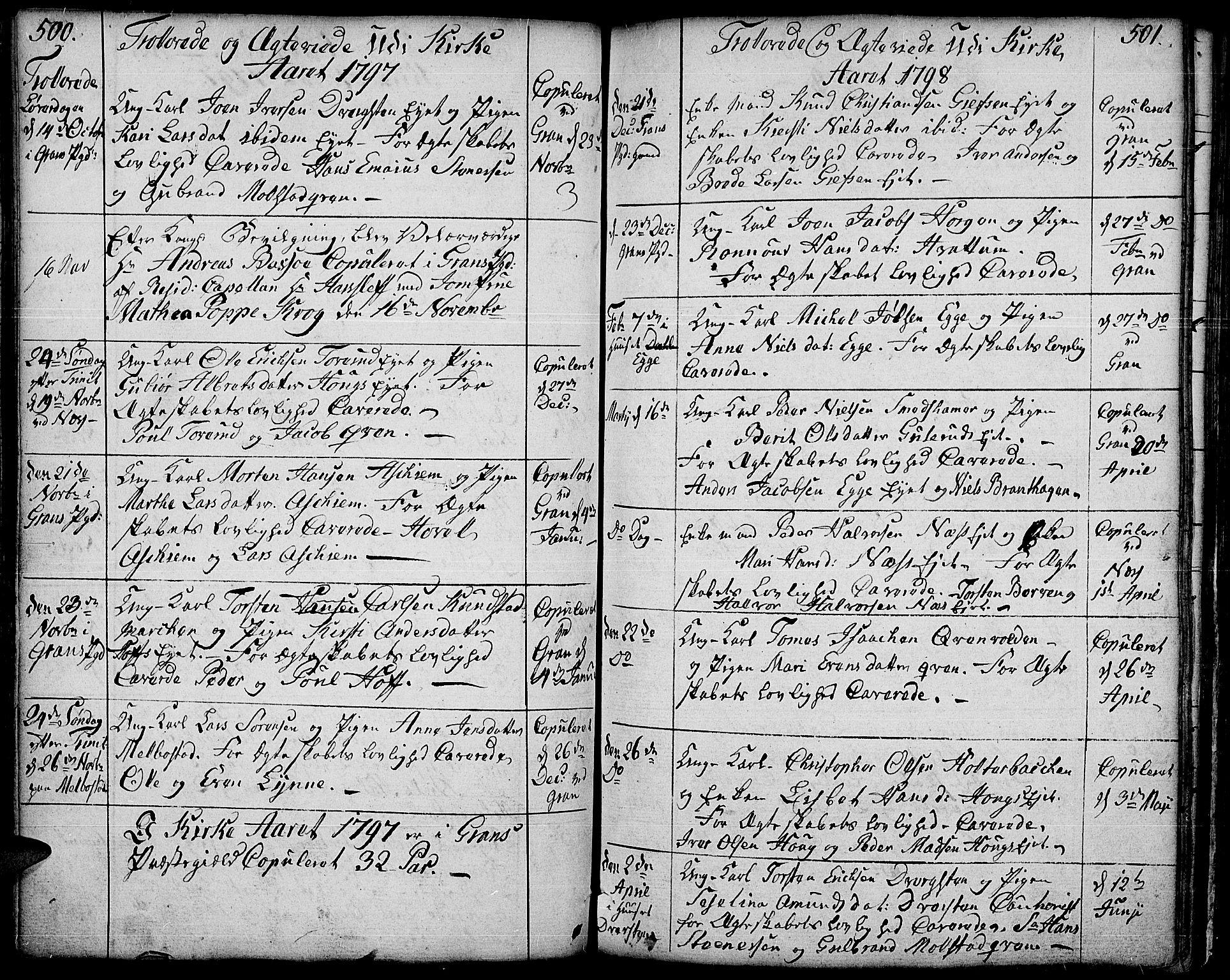 SAH, Gran prestekontor, Ministerialbok nr. 6, 1787-1824, s. 500-501
