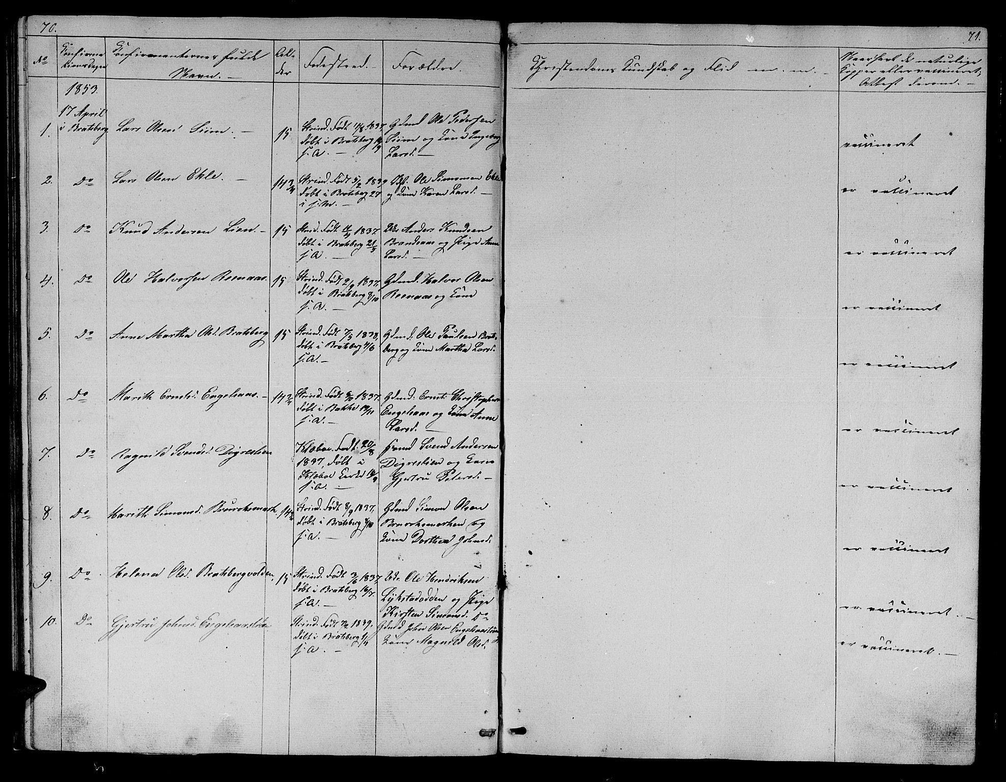 SAT, Ministerialprotokoller, klokkerbøker og fødselsregistre - Sør-Trøndelag, 608/L0339: Klokkerbok nr. 608C05, 1844-1863, s. 70-71