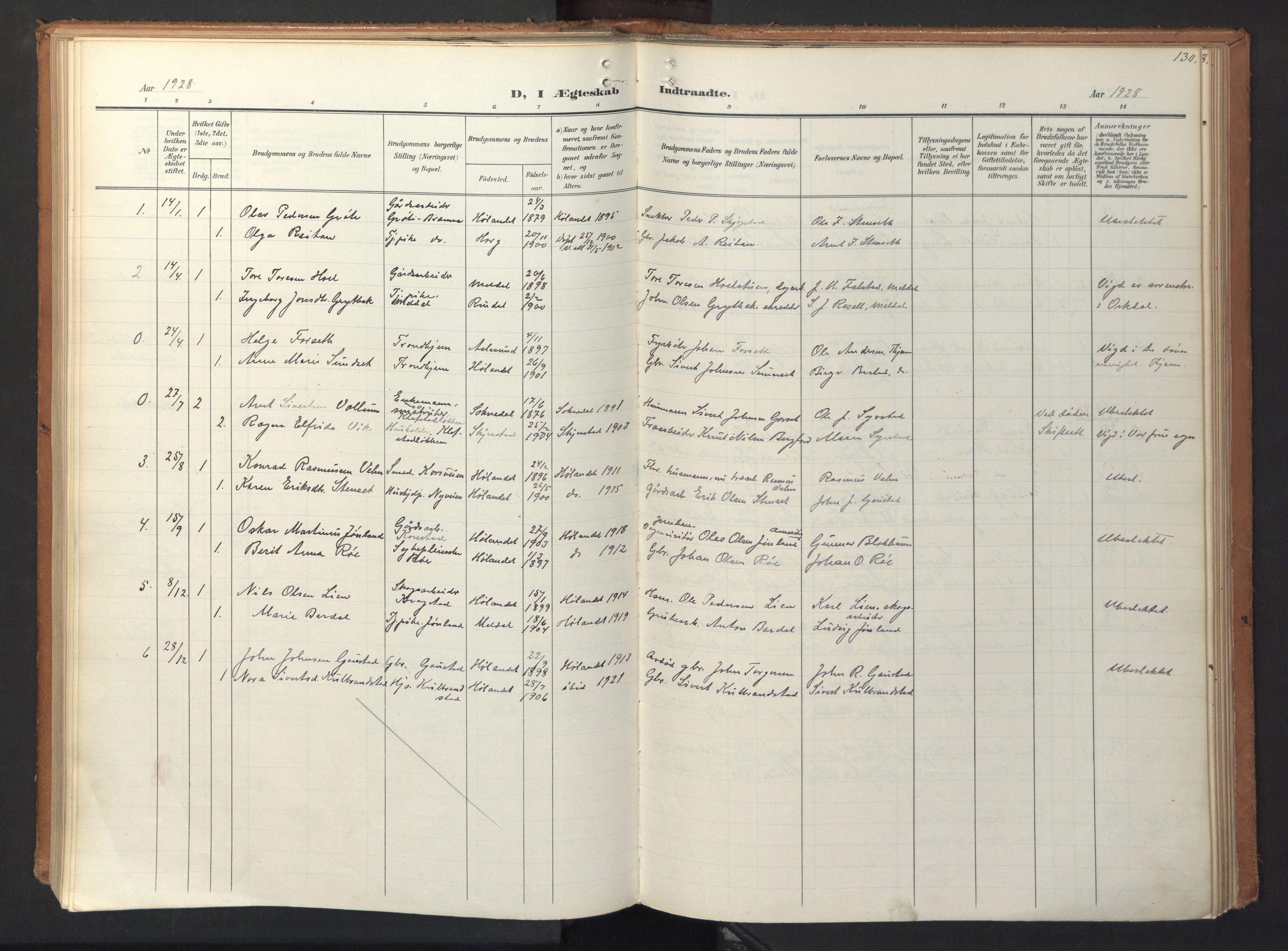 SAT, Ministerialprotokoller, klokkerbøker og fødselsregistre - Sør-Trøndelag, 694/L1128: Ministerialbok nr. 694A02, 1906-1931, s. 130