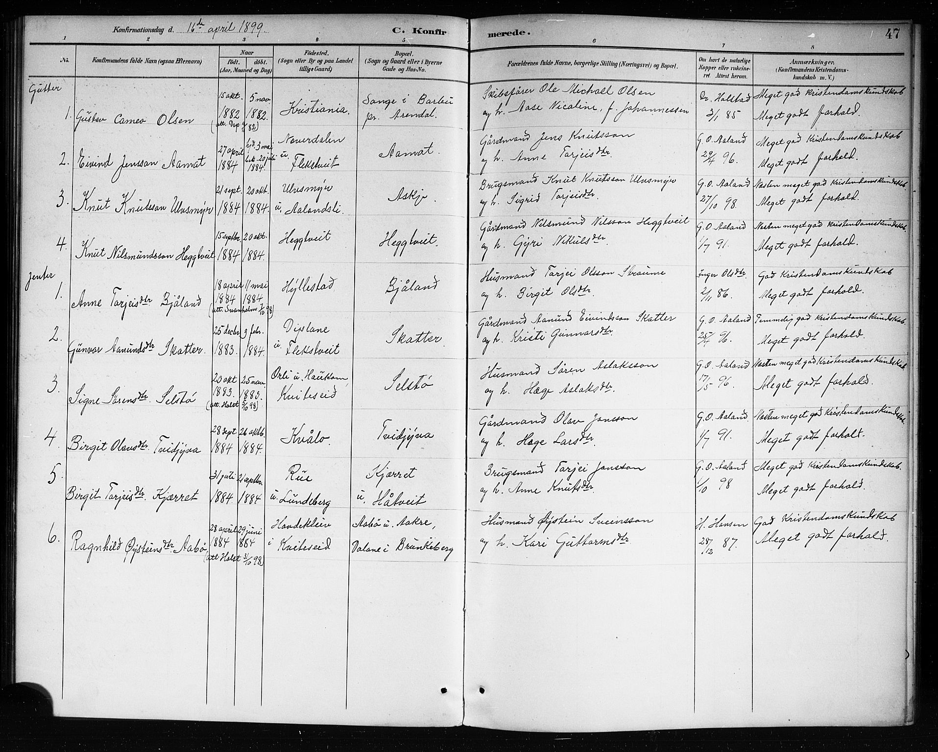 SAKO, Lårdal kirkebøker, G/Ga/L0003: Klokkerbok nr. I 3, 1891-1918, s. 47