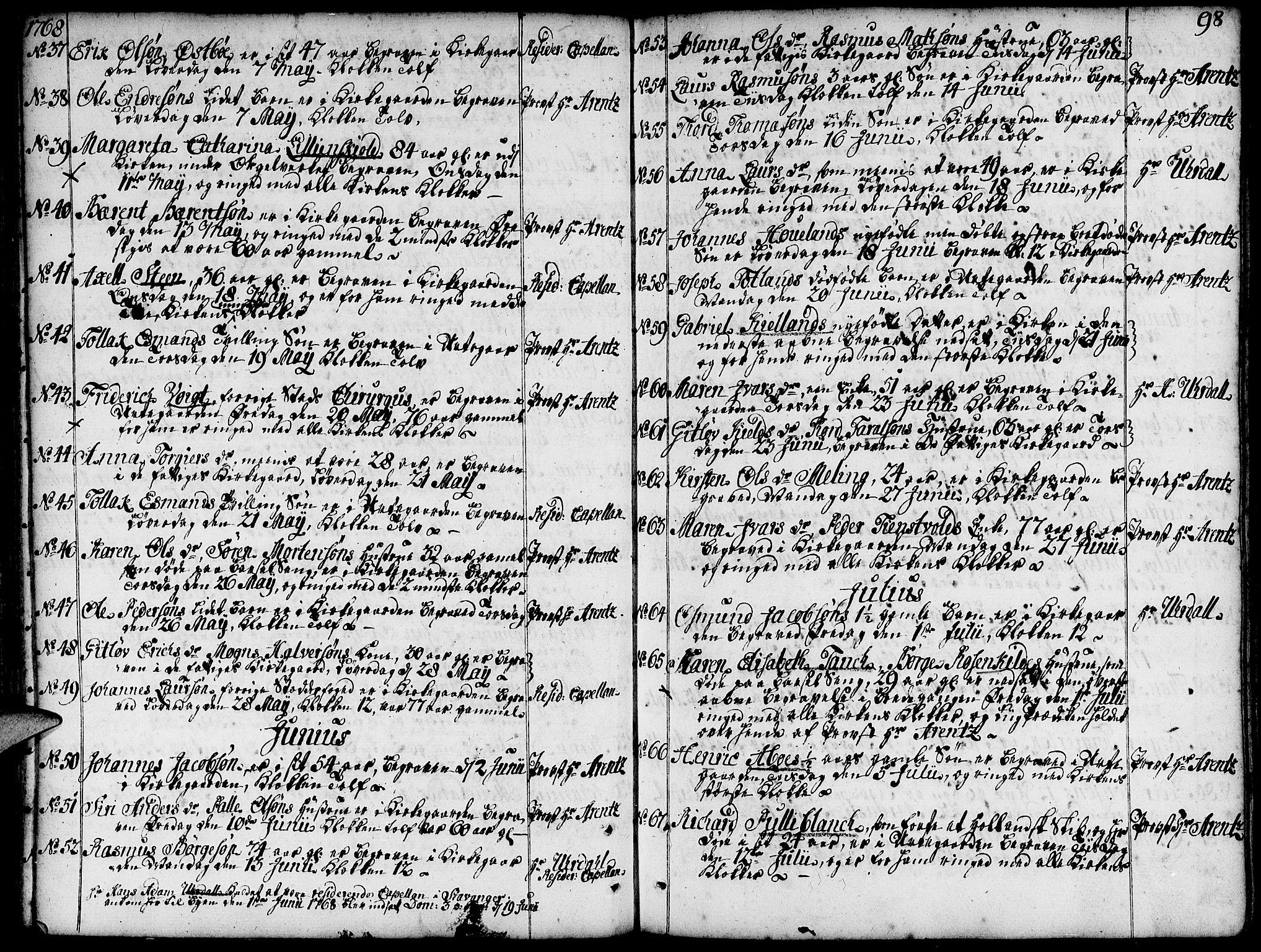 SAST, Domkirken sokneprestkontor, 30/30BA/L0005: Ministerialbok nr. A 5, 1744-1788, s. 98