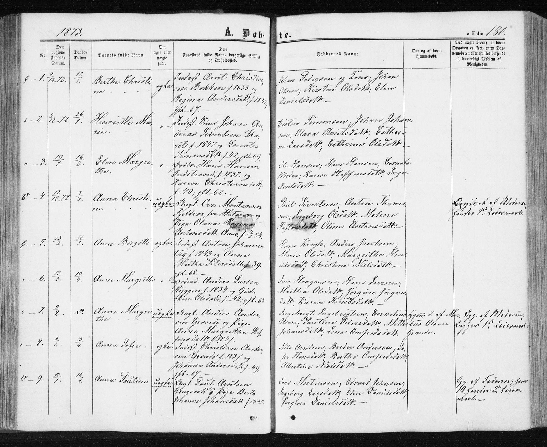 SAT, Ministerialprotokoller, klokkerbøker og fødselsregistre - Sør-Trøndelag, 659/L0737: Ministerialbok nr. 659A07, 1857-1875, s. 180