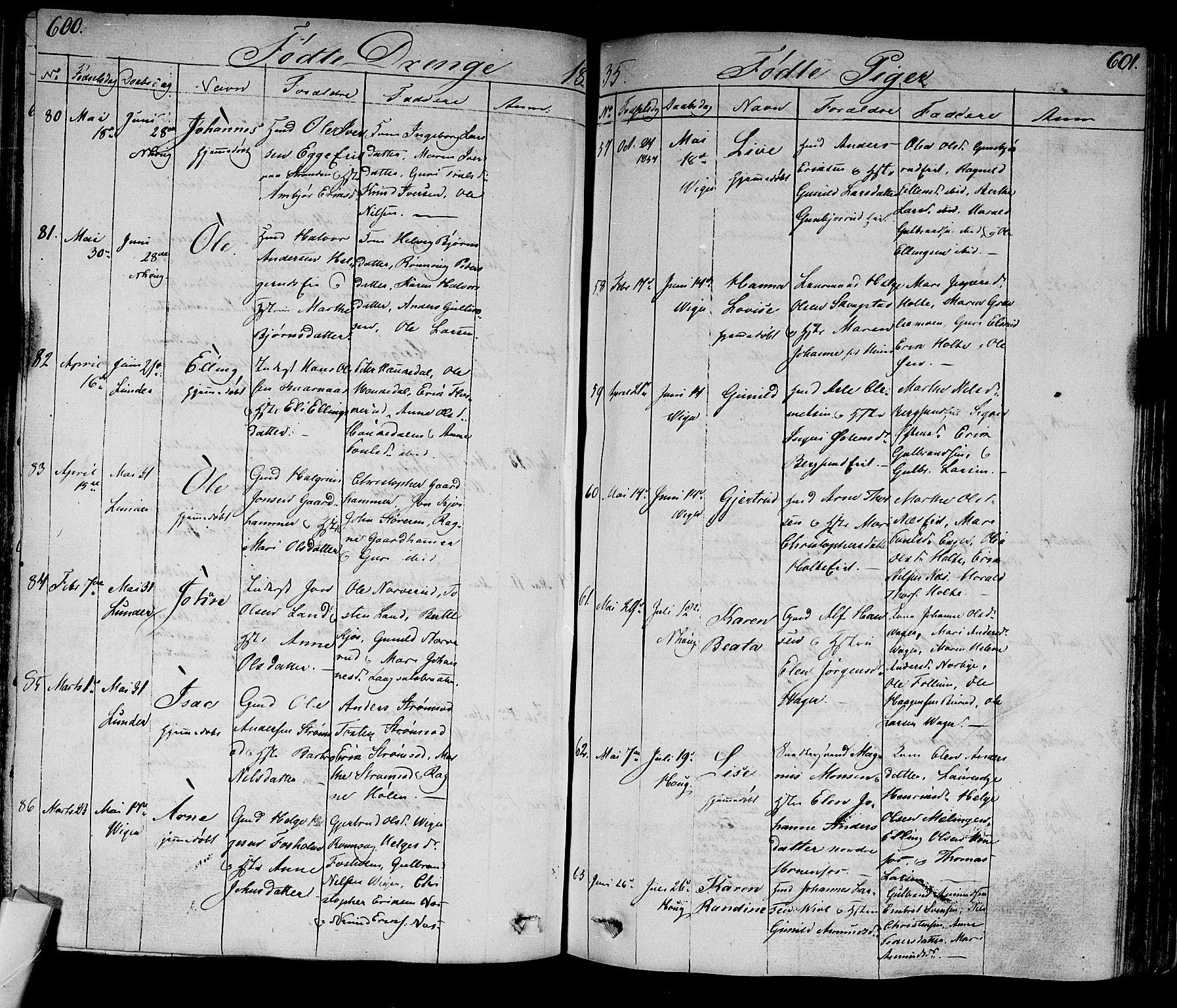 SAKO, Norderhov kirkebøker, F/Fa/L0009: Ministerialbok nr. 9, 1819-1837, s. 600-601