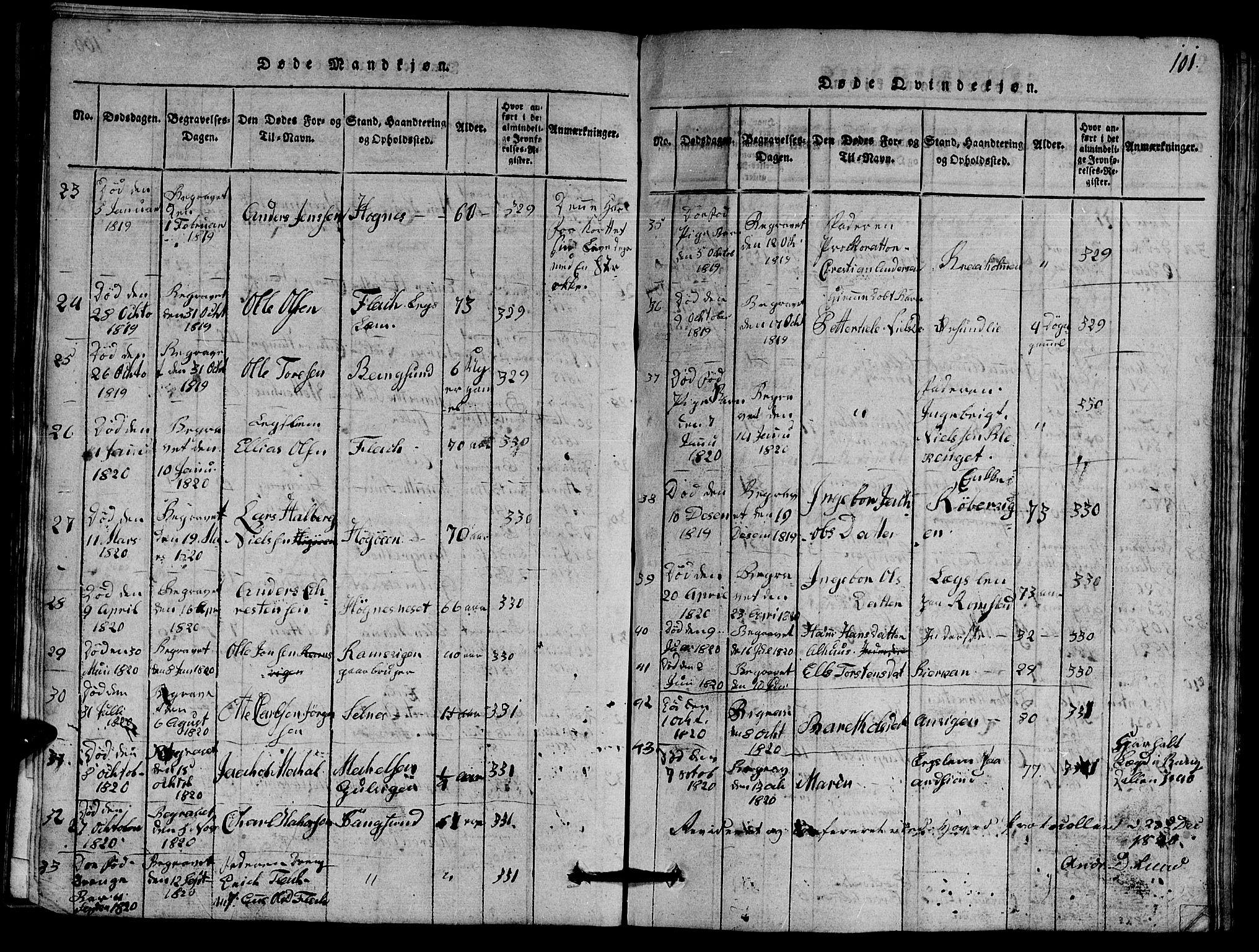 SAT, Ministerialprotokoller, klokkerbøker og fødselsregistre - Nord-Trøndelag, 770/L0590: Klokkerbok nr. 770C01, 1815-1824, s. 101