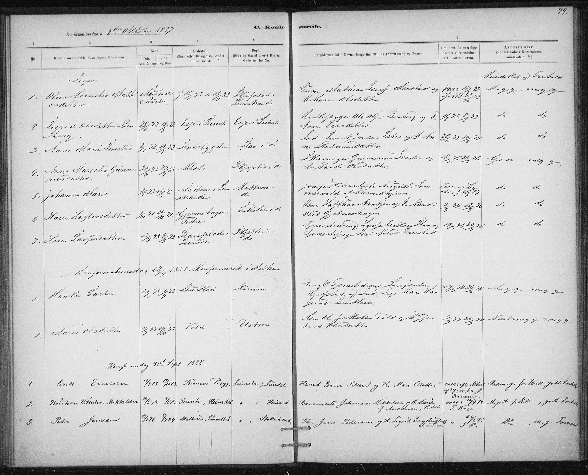 SAT, Ministerialprotokoller, klokkerbøker og fødselsregistre - Sør-Trøndelag, 613/L0392: Ministerialbok nr. 613A01, 1887-1906, s. 79