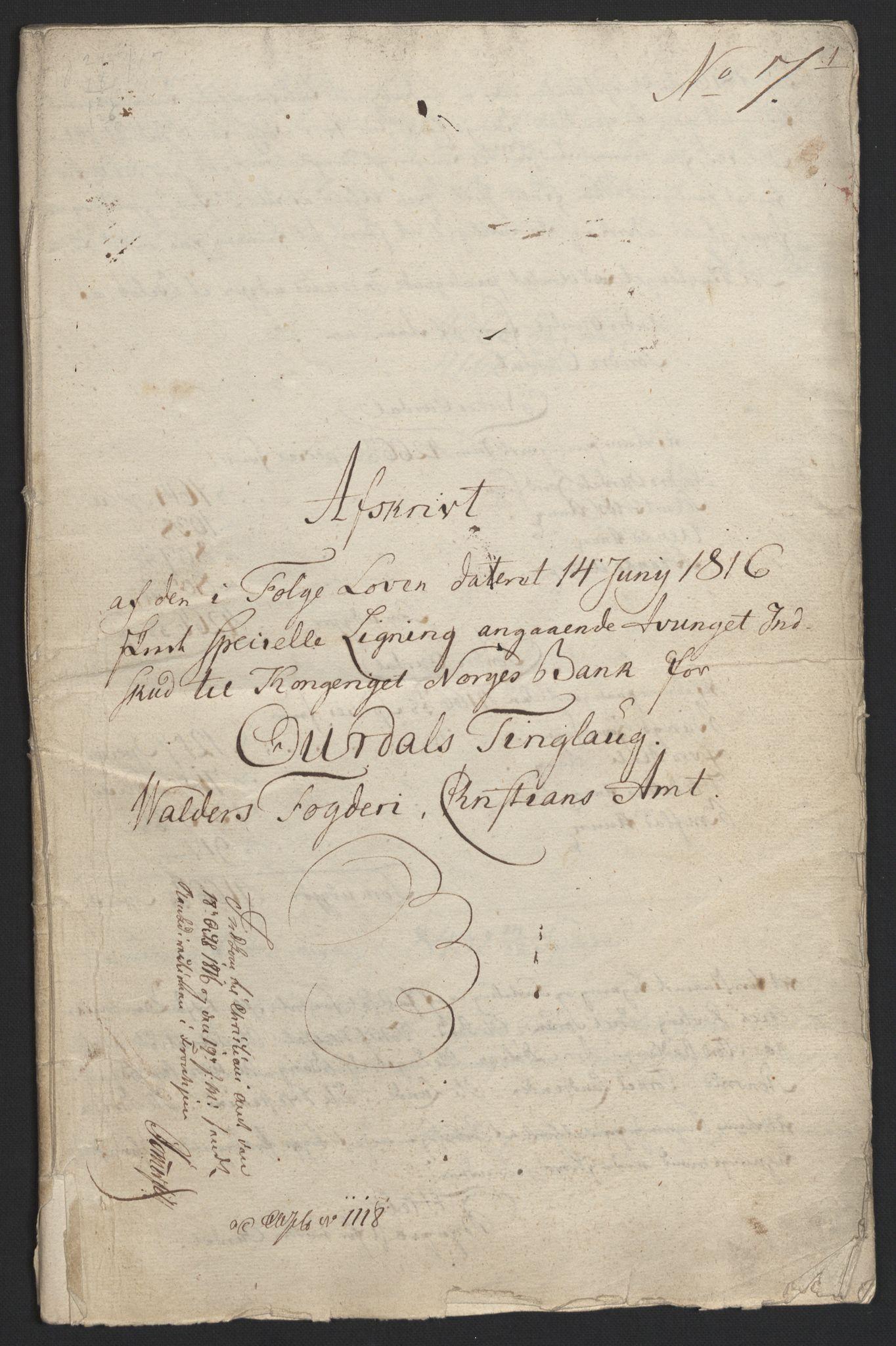 NOBA, Norges Bank/Sølvskatten 1816*, 1816, s. 65