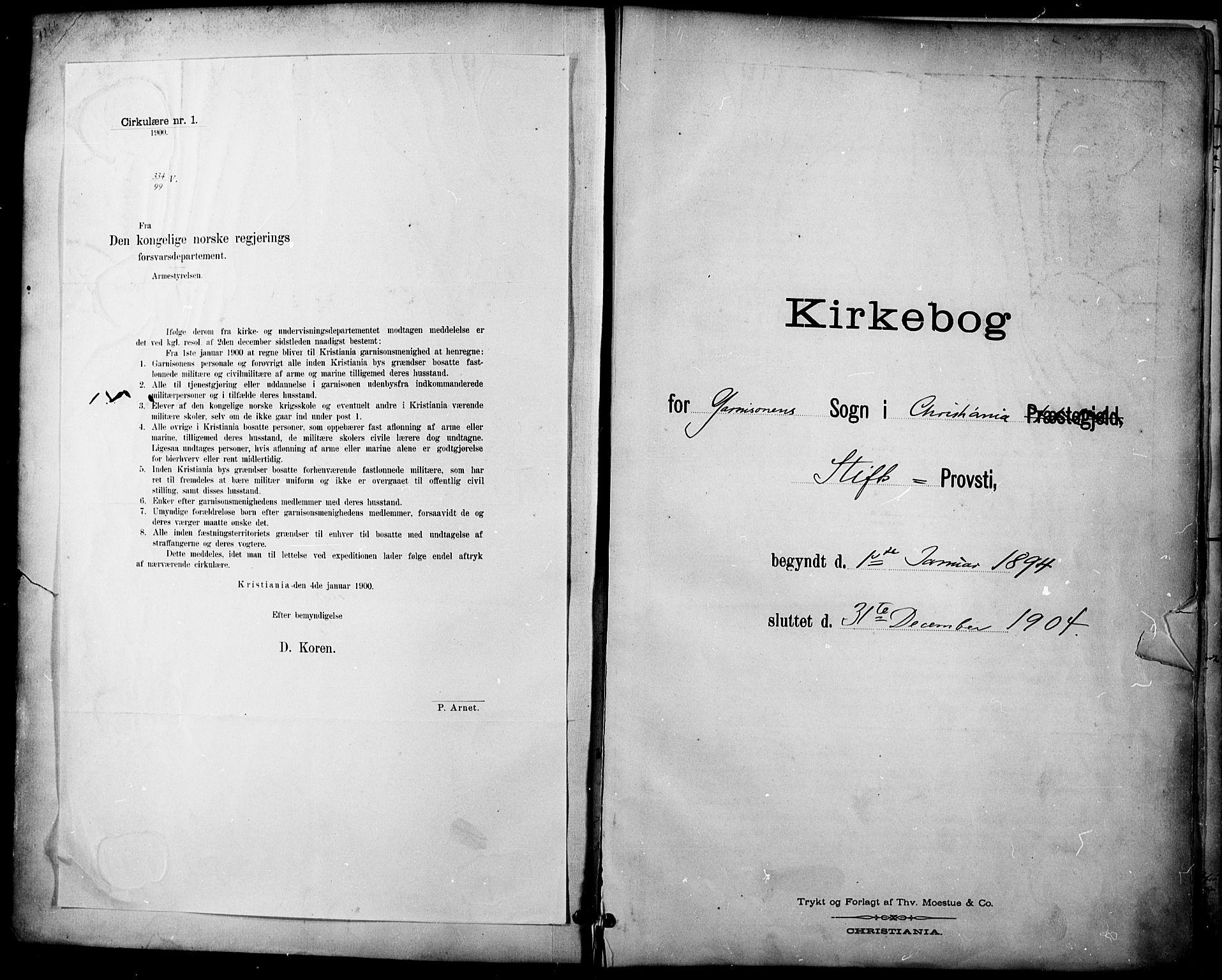 SAO, Garnisonsmenigheten Kirkebøker, F/Fa/L0013: Ministerialbok nr. 13, 1894-1904