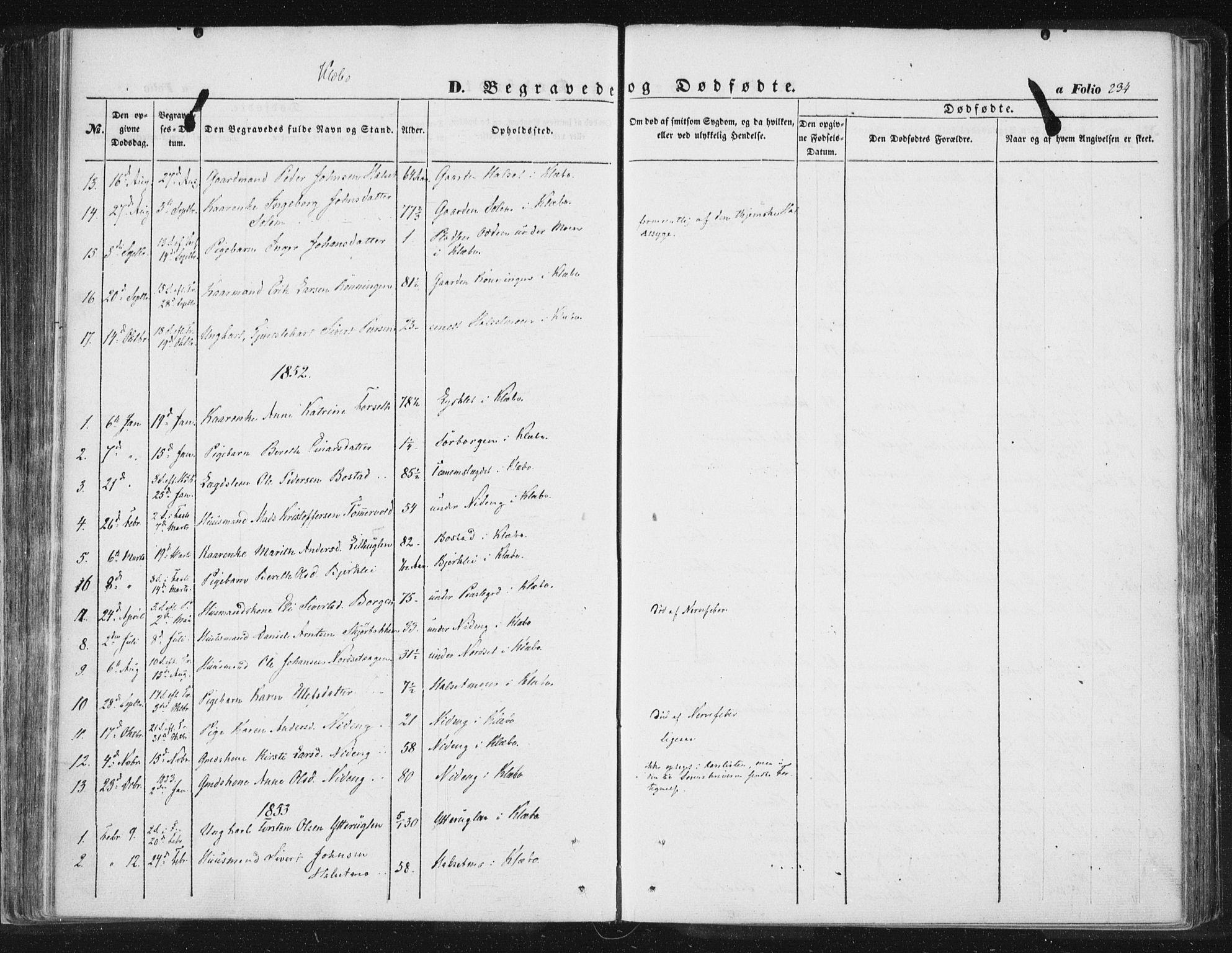 SAT, Ministerialprotokoller, klokkerbøker og fødselsregistre - Sør-Trøndelag, 618/L0441: Ministerialbok nr. 618A05, 1843-1862, s. 234