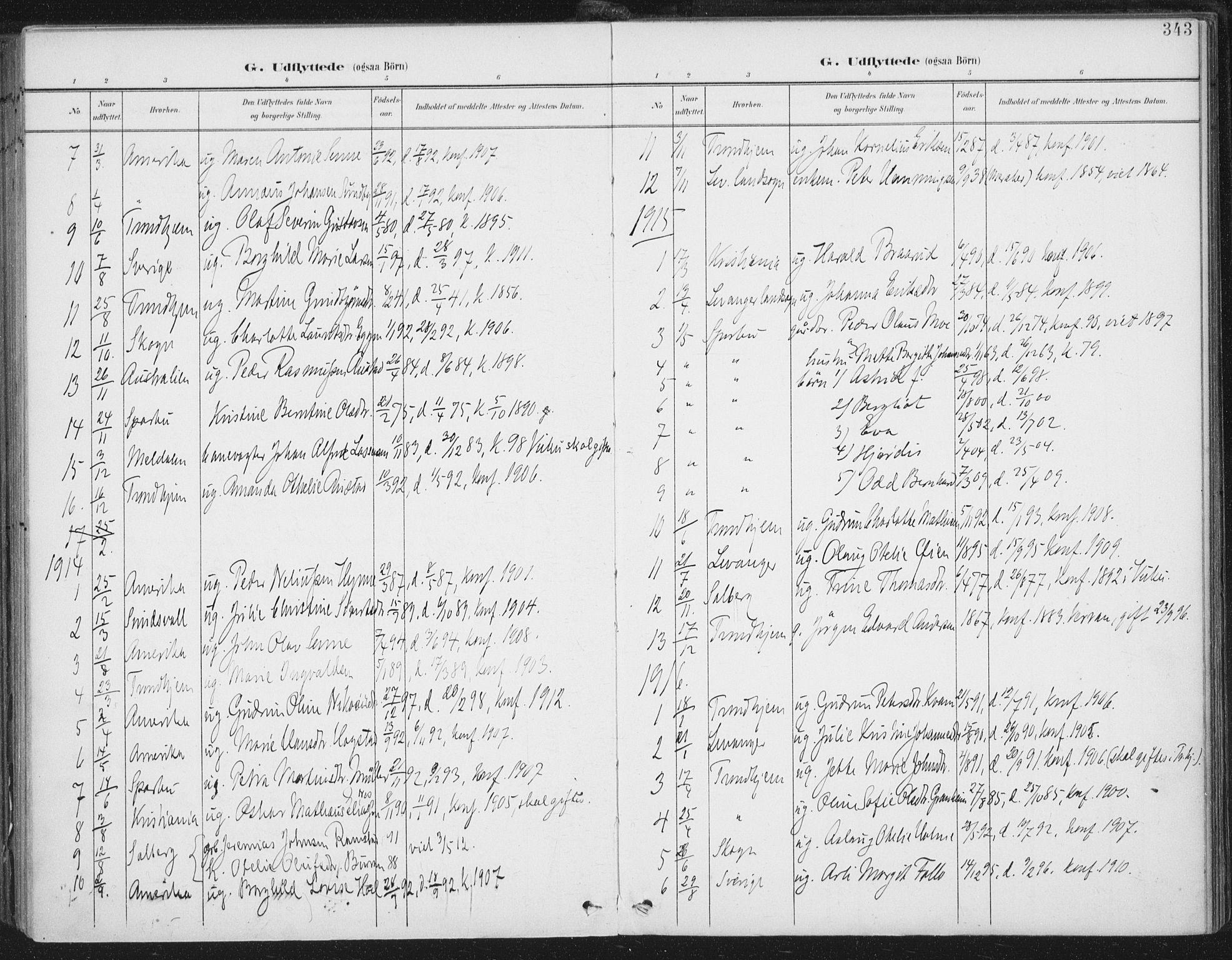 SAT, Ministerialprotokoller, klokkerbøker og fødselsregistre - Nord-Trøndelag, 723/L0246: Ministerialbok nr. 723A15, 1900-1917, s. 343