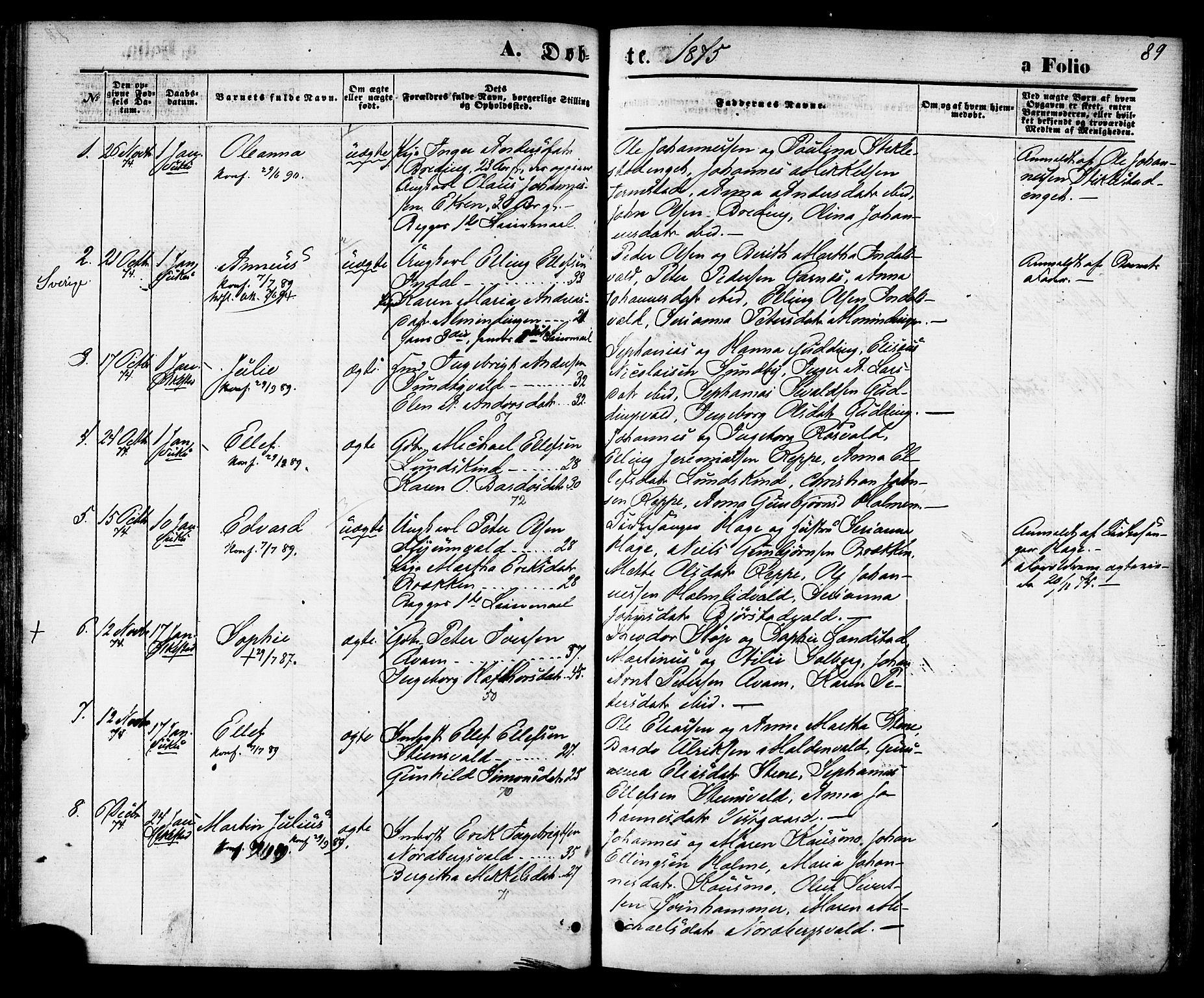 SAT, Ministerialprotokoller, klokkerbøker og fødselsregistre - Nord-Trøndelag, 723/L0242: Ministerialbok nr. 723A11, 1870-1880, s. 89