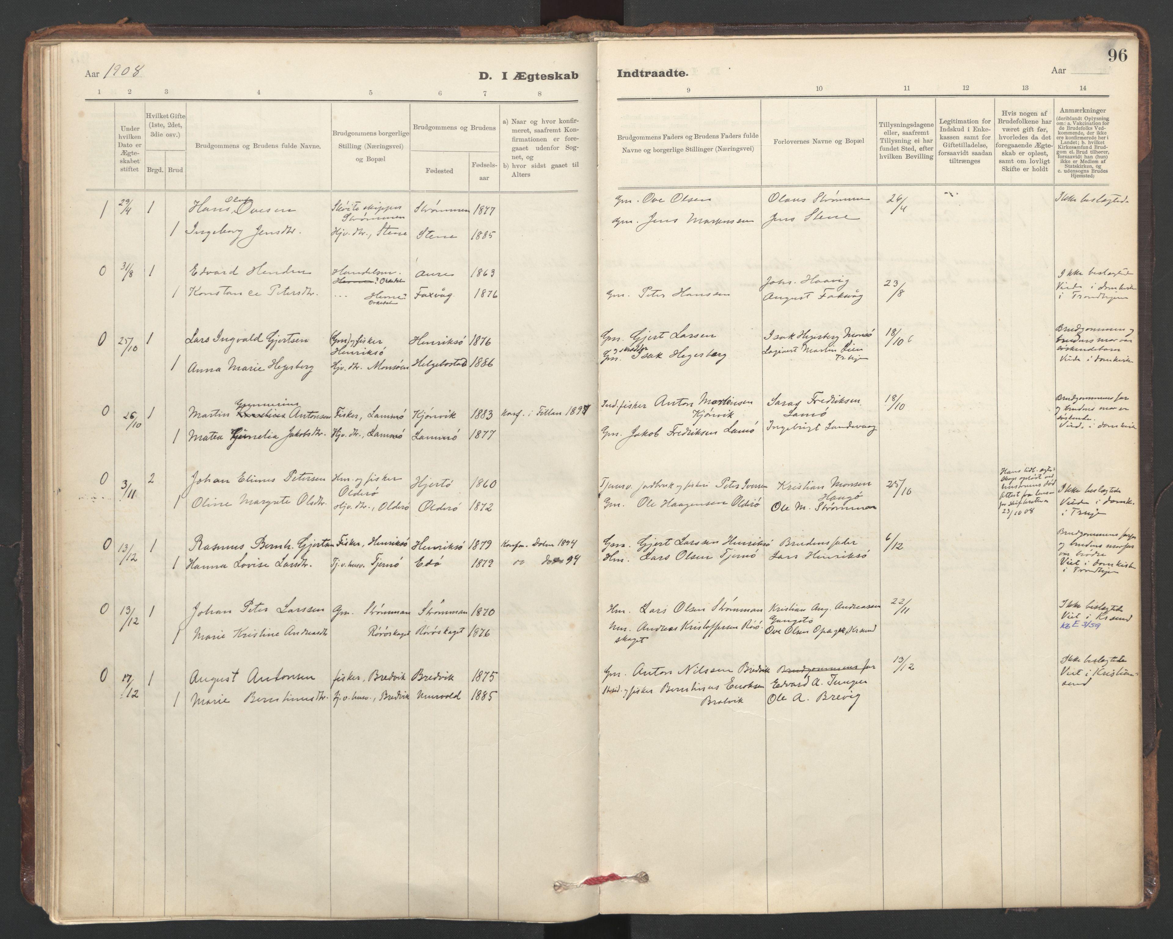 SAT, Ministerialprotokoller, klokkerbøker og fødselsregistre - Sør-Trøndelag, 635/L0552: Ministerialbok nr. 635A02, 1899-1919, s. 96