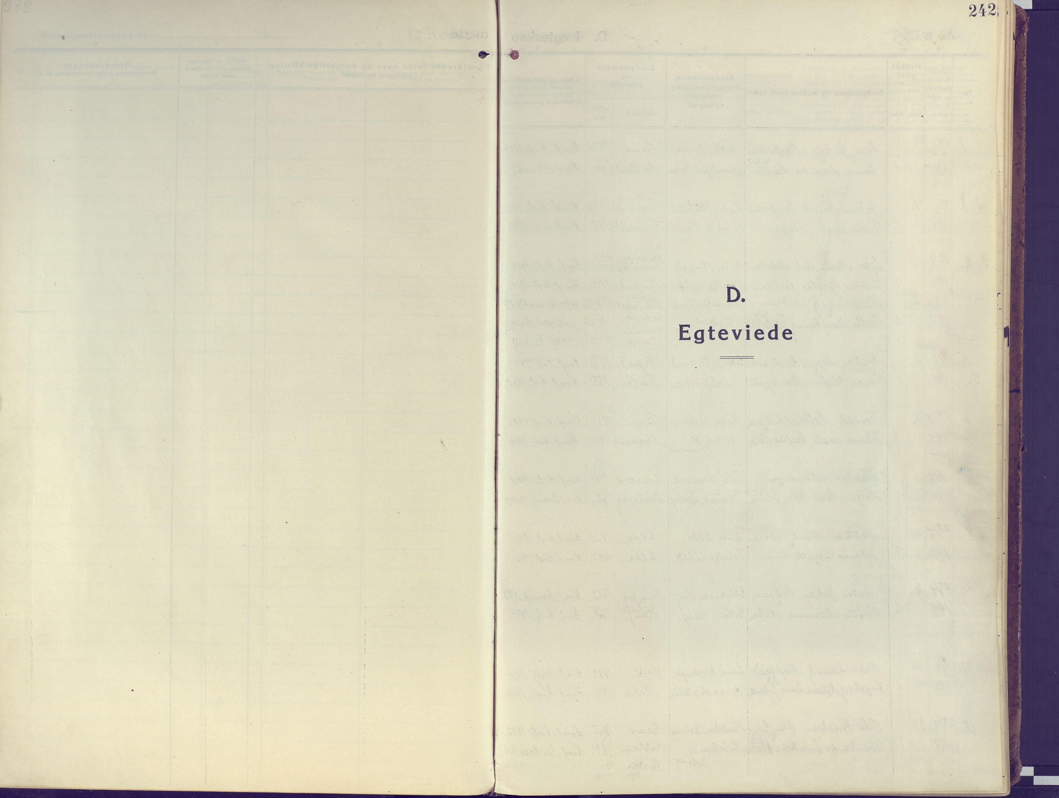 SATØ, Kvæfjord sokneprestkontor, G/Ga/Gaa/L0007kirke: Ministerialbok nr. 7, 1915-1931, s. 242
