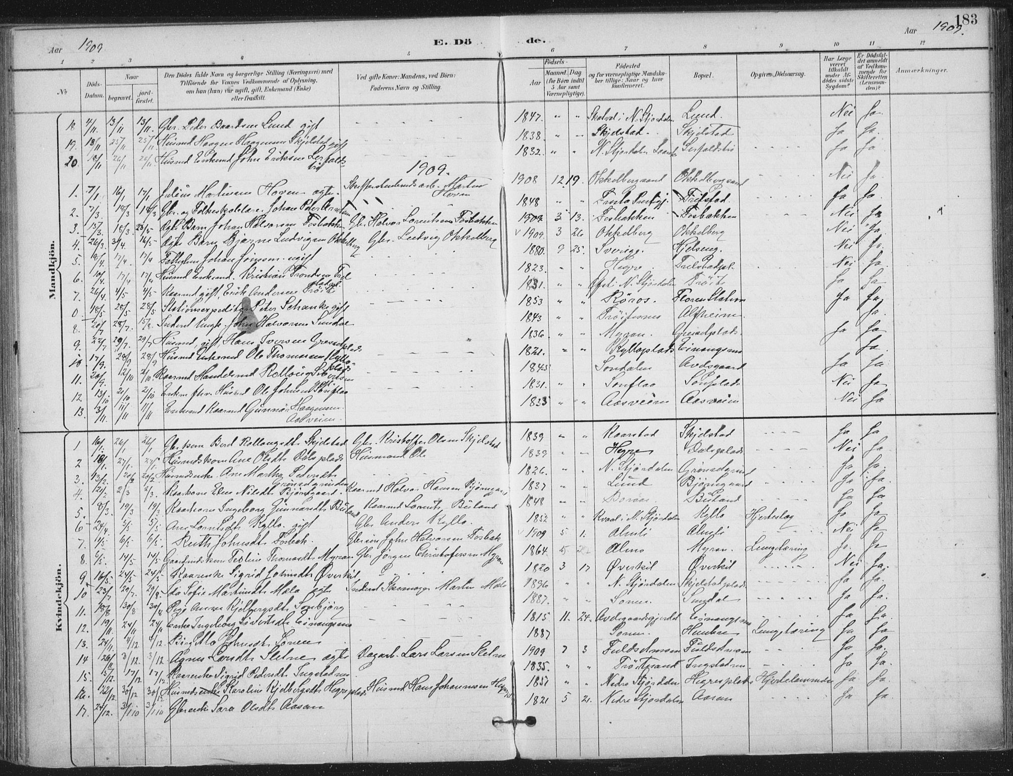 SAT, Ministerialprotokoller, klokkerbøker og fødselsregistre - Nord-Trøndelag, 703/L0031: Ministerialbok nr. 703A04, 1893-1914, s. 183
