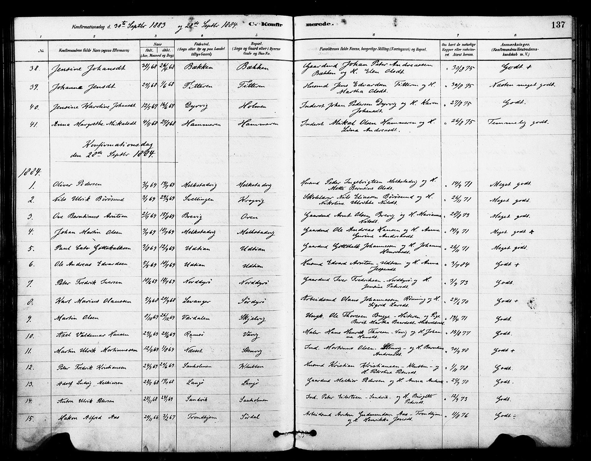 SAT, Ministerialprotokoller, klokkerbøker og fødselsregistre - Sør-Trøndelag, 640/L0578: Ministerialbok nr. 640A03, 1879-1889, s. 137