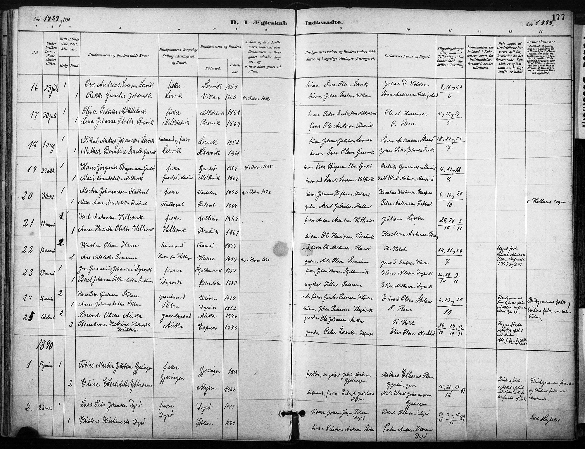 SAT, Ministerialprotokoller, klokkerbøker og fødselsregistre - Sør-Trøndelag, 640/L0579: Ministerialbok nr. 640A04, 1889-1902, s. 177