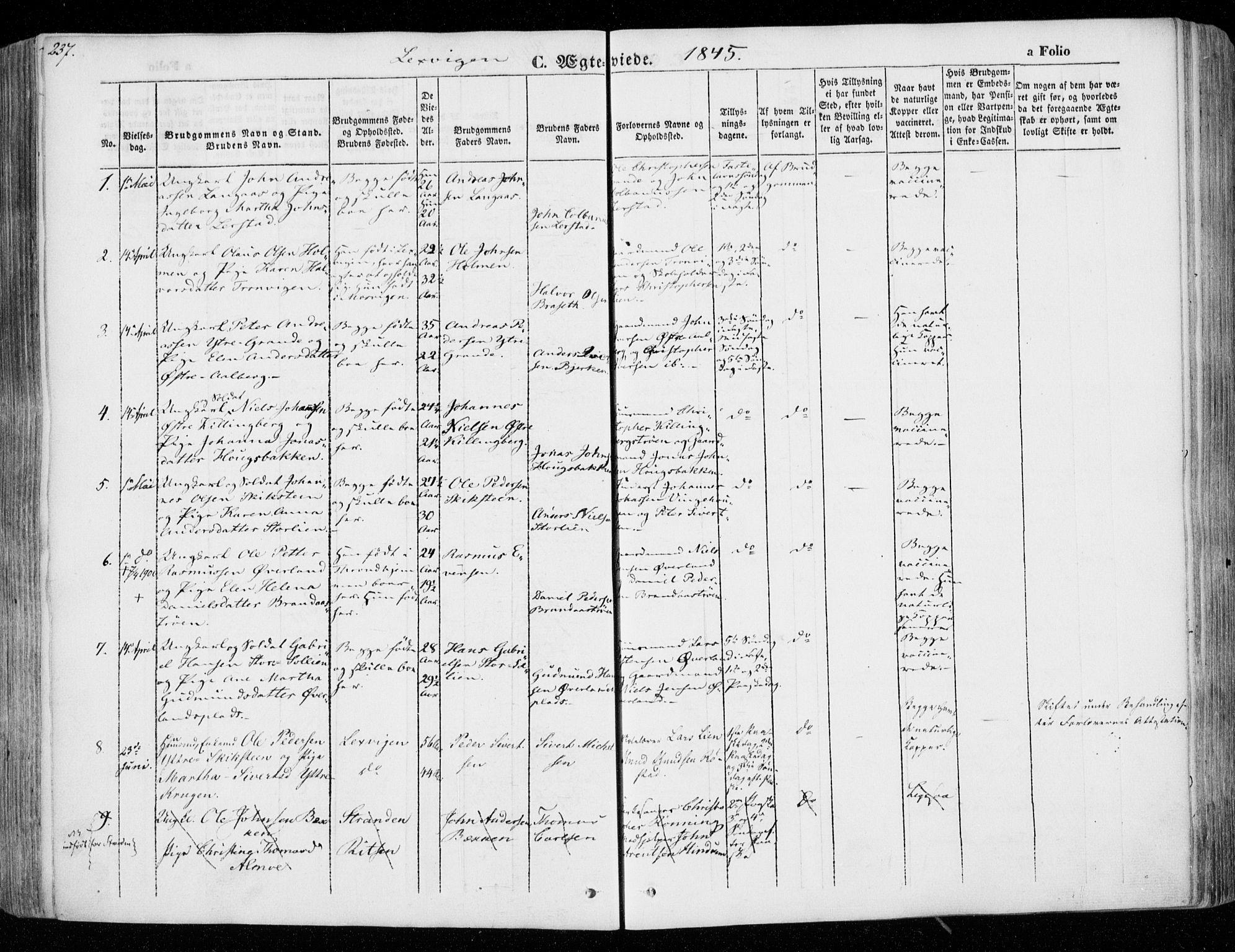 SAT, Ministerialprotokoller, klokkerbøker og fødselsregistre - Nord-Trøndelag, 701/L0007: Ministerialbok nr. 701A07 /1, 1842-1854, s. 237