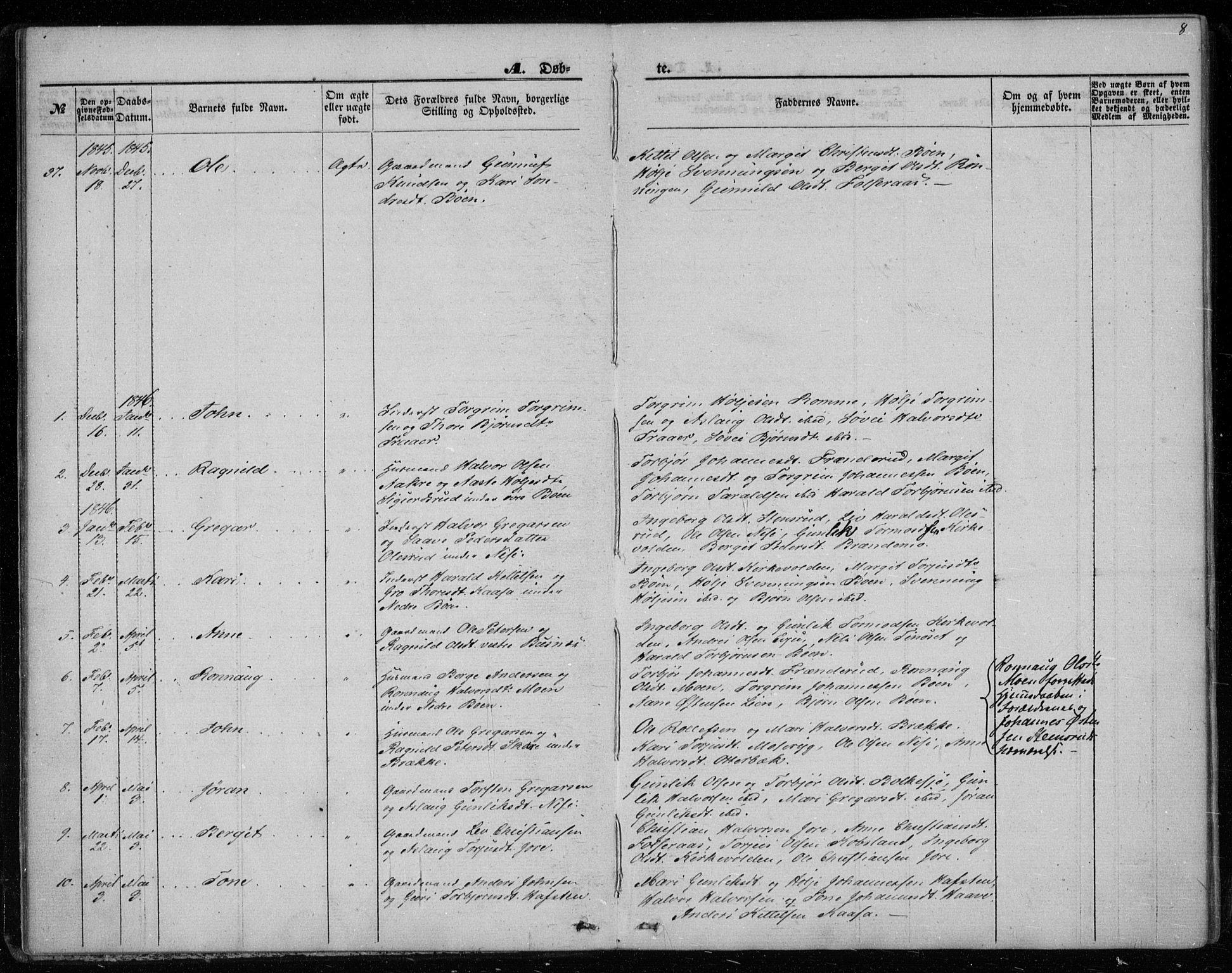 SAKO, Gransherad kirkebøker, F/Fa/L0002: Ministerialbok nr. I 2, 1844-1859, s. 8