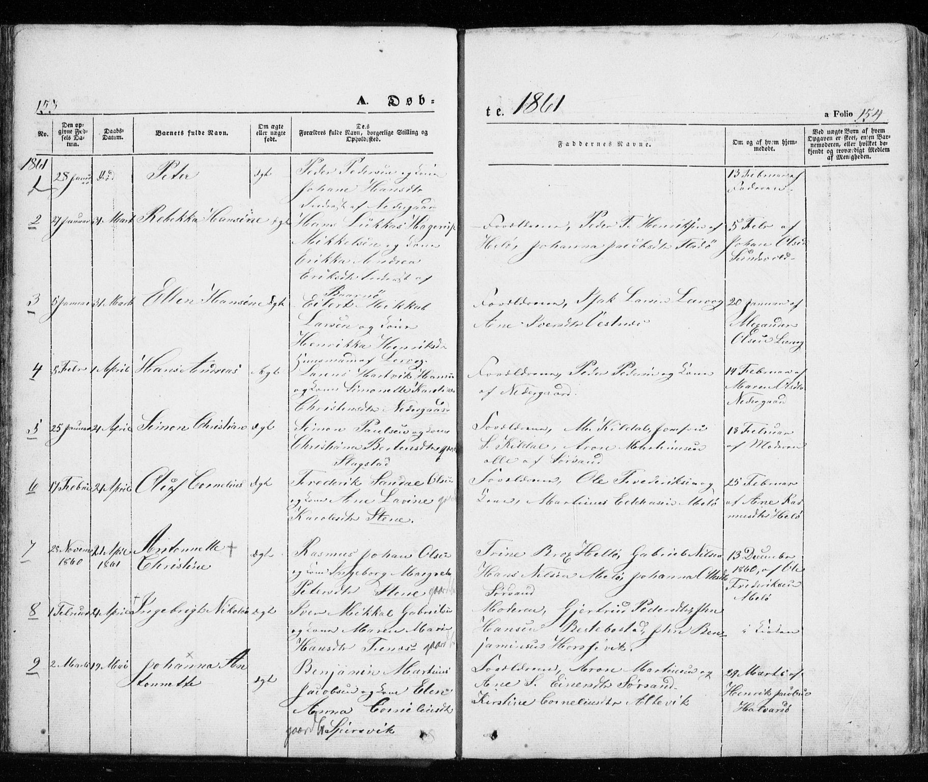 SATØ, Trondenes sokneprestkontor, H/Ha/L0010kirke: Ministerialbok nr. 10, 1840-1865, s. 153-154