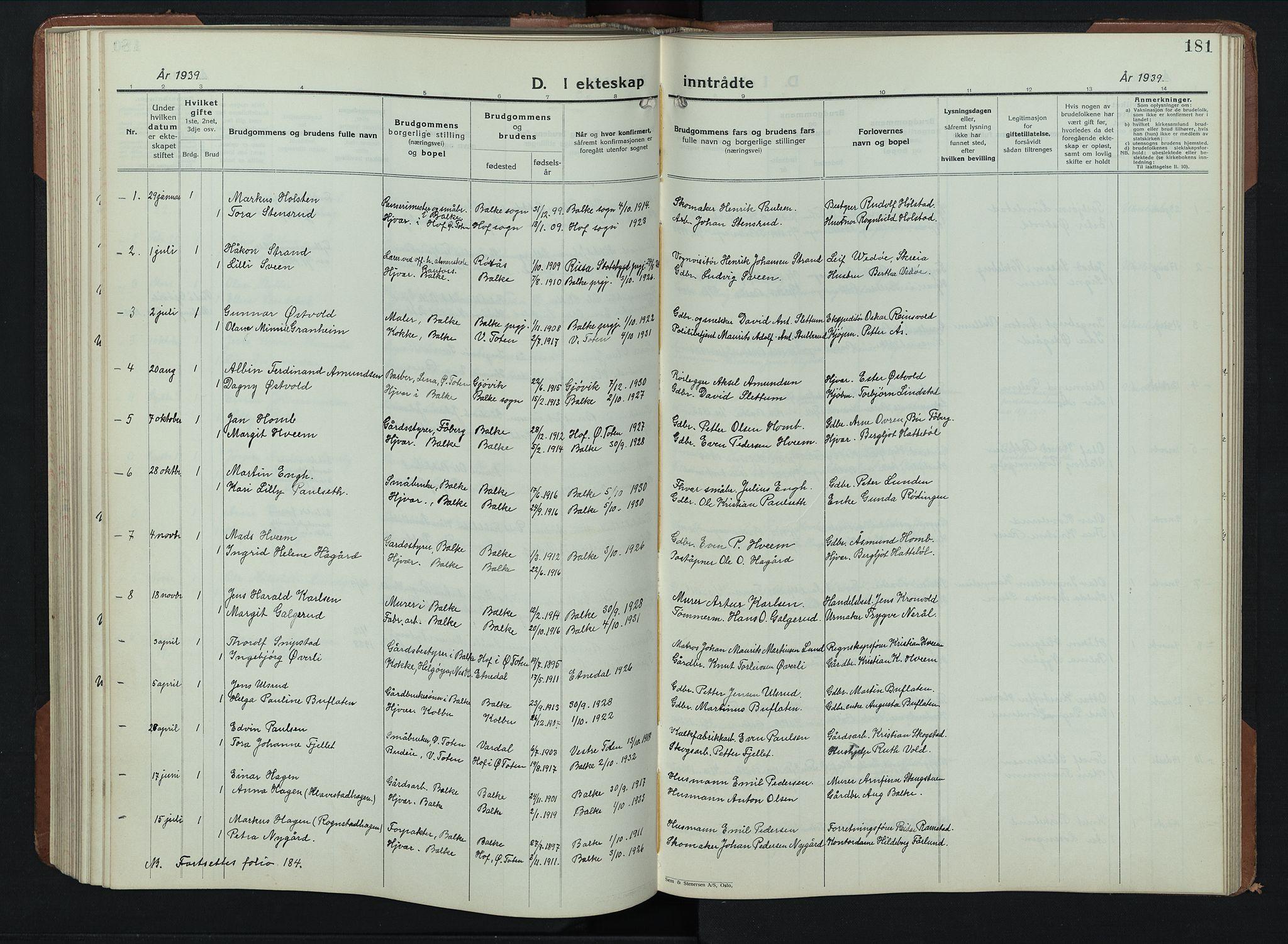 SAH, Balke prestekontor, Klokkerbok nr. 2, 1929-1951, s. 181