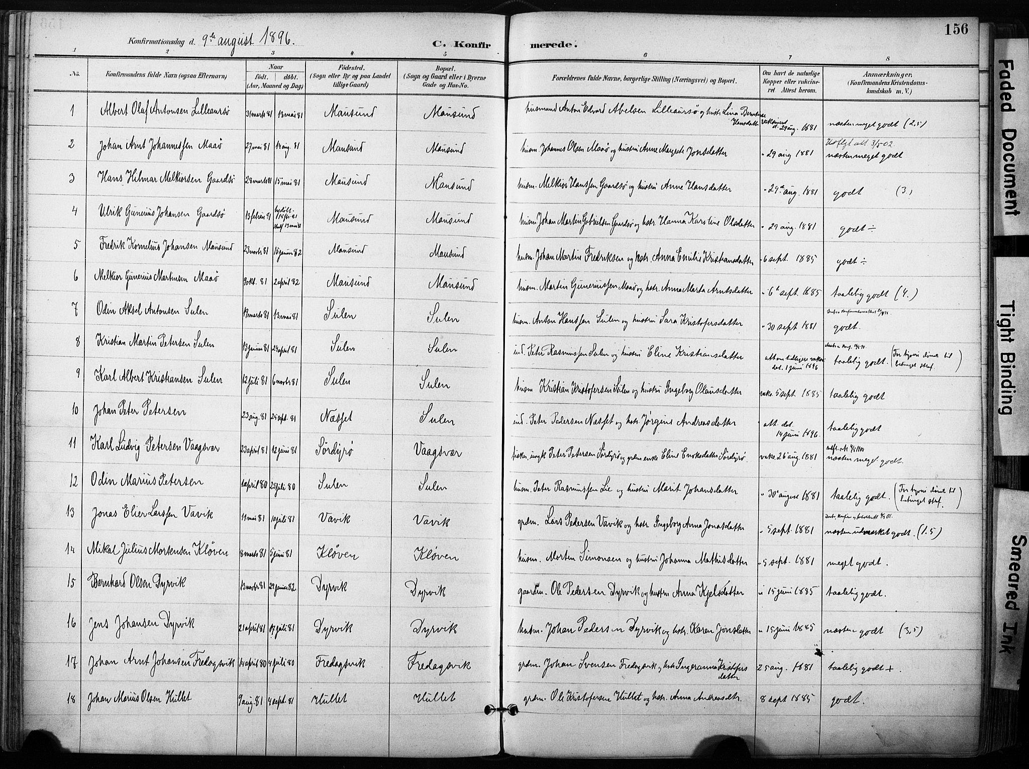 SAT, Ministerialprotokoller, klokkerbøker og fødselsregistre - Sør-Trøndelag, 640/L0579: Ministerialbok nr. 640A04, 1889-1902, s. 156