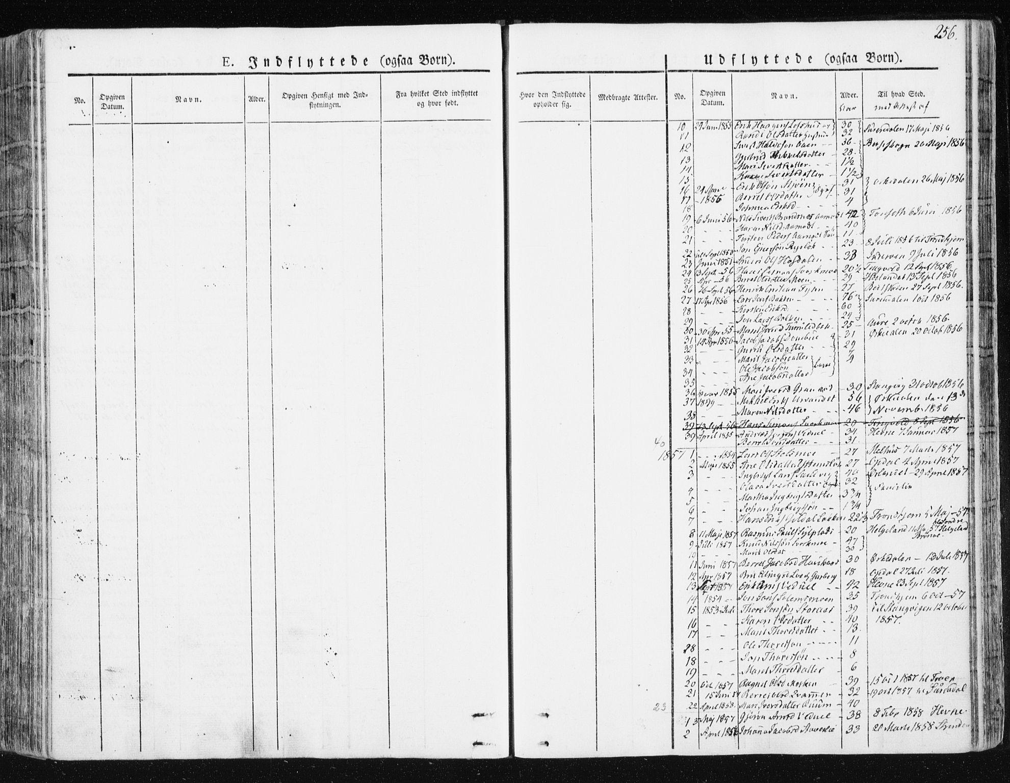 SAT, Ministerialprotokoller, klokkerbøker og fødselsregistre - Sør-Trøndelag, 672/L0855: Ministerialbok nr. 672A07, 1829-1860, s. 256