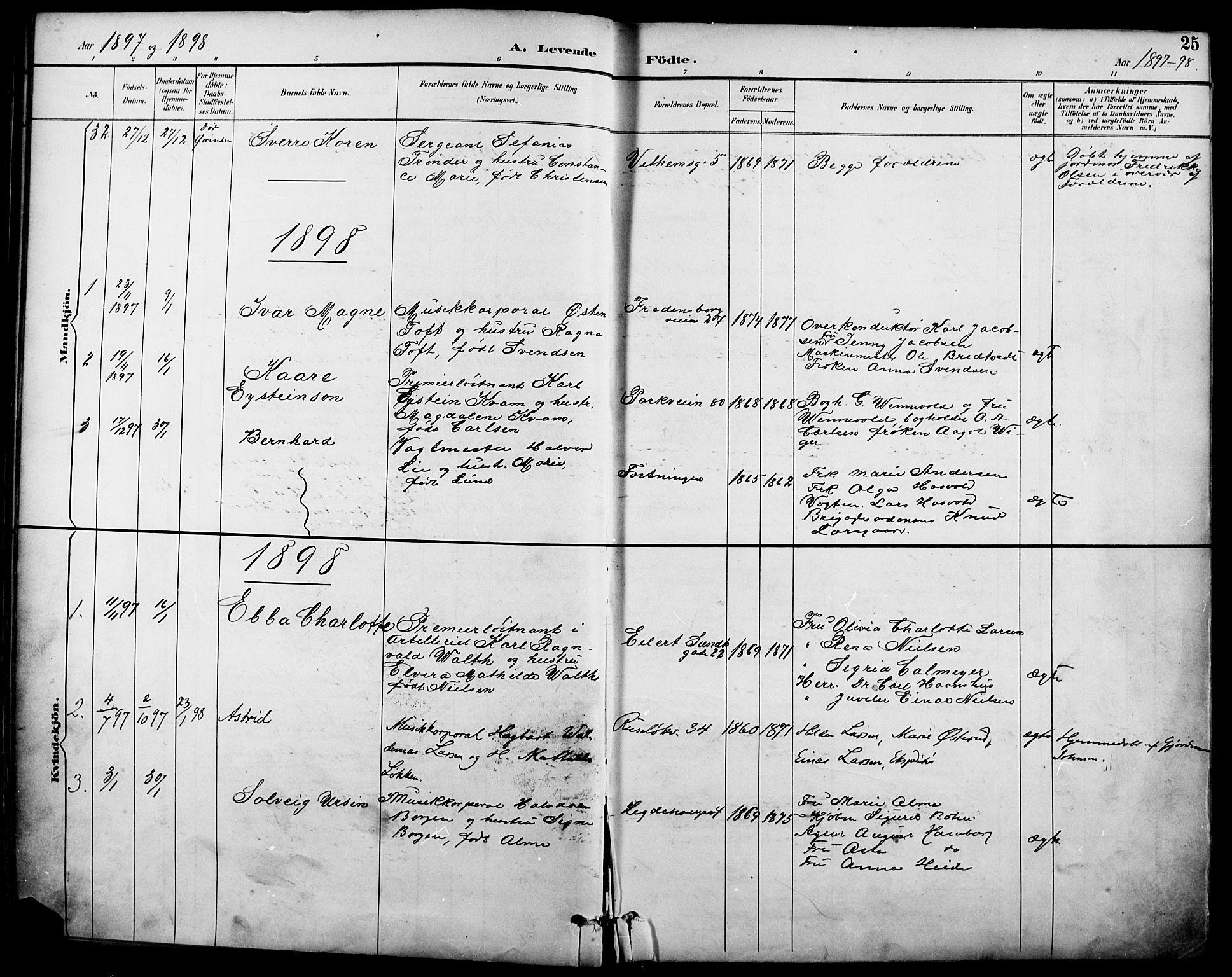 SAO, Garnisonsmenigheten Kirkebøker, F/Fa/L0013: Ministerialbok nr. 13, 1894-1904, s. 25