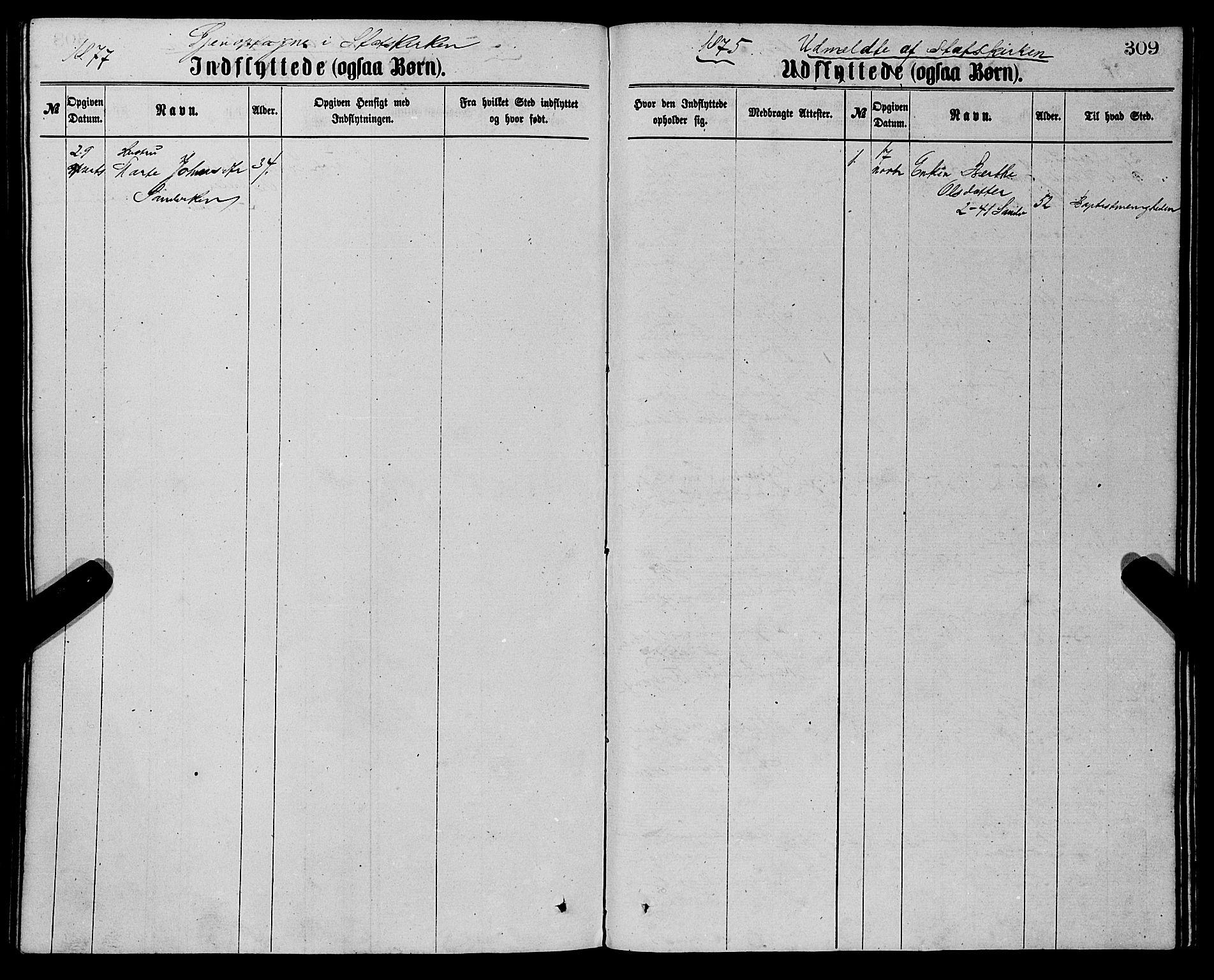 SAB, Sandviken Sokneprestembete, H/Ha/L0001: Ministerialbok nr. A 1, 1867-1877, s. 309