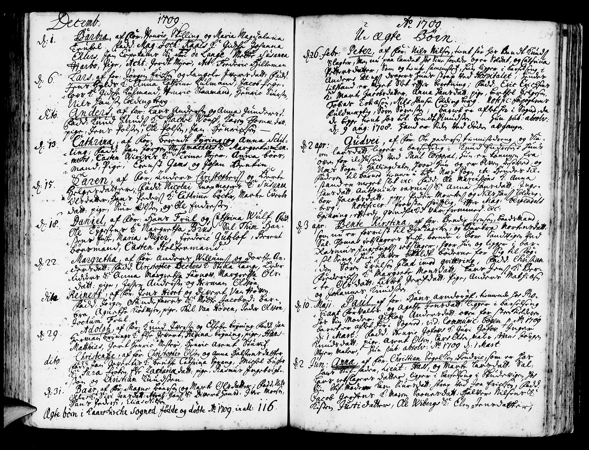 SAB, Korskirken Sokneprestembete, H/Haa/L0003: Ministerialbok nr. A 3, 1698-1719, s. 209
