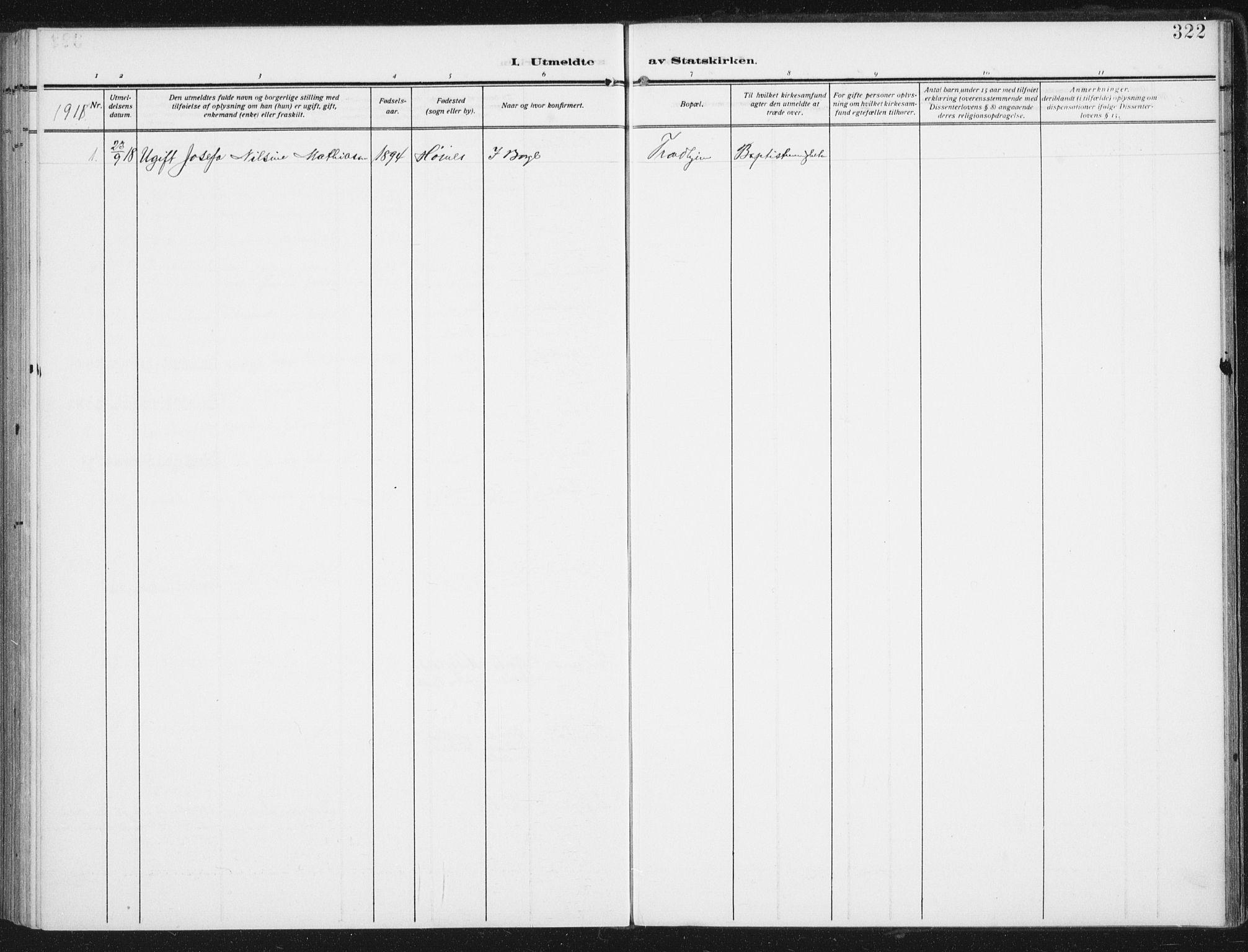 SAT, Ministerialprotokoller, klokkerbøker og fødselsregistre - Nordland, 880/L1135: Ministerialbok nr. 880A09, 1908-1919, s. 322
