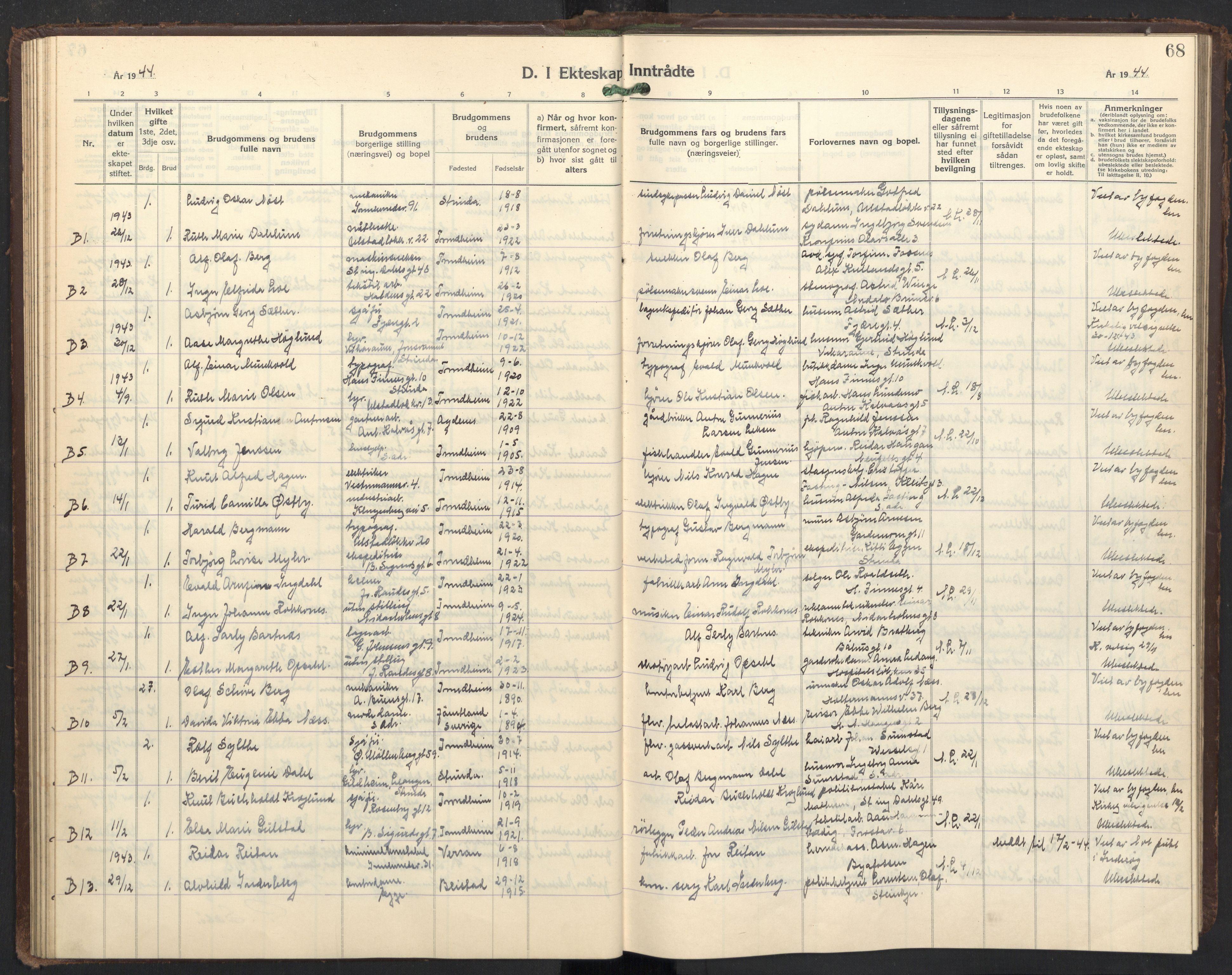 SAT, Ministerialprotokoller, klokkerbøker og fødselsregistre - Sør-Trøndelag, 605/L0263: Klokkerbok nr. 605C10, 1938-1949, s. 68