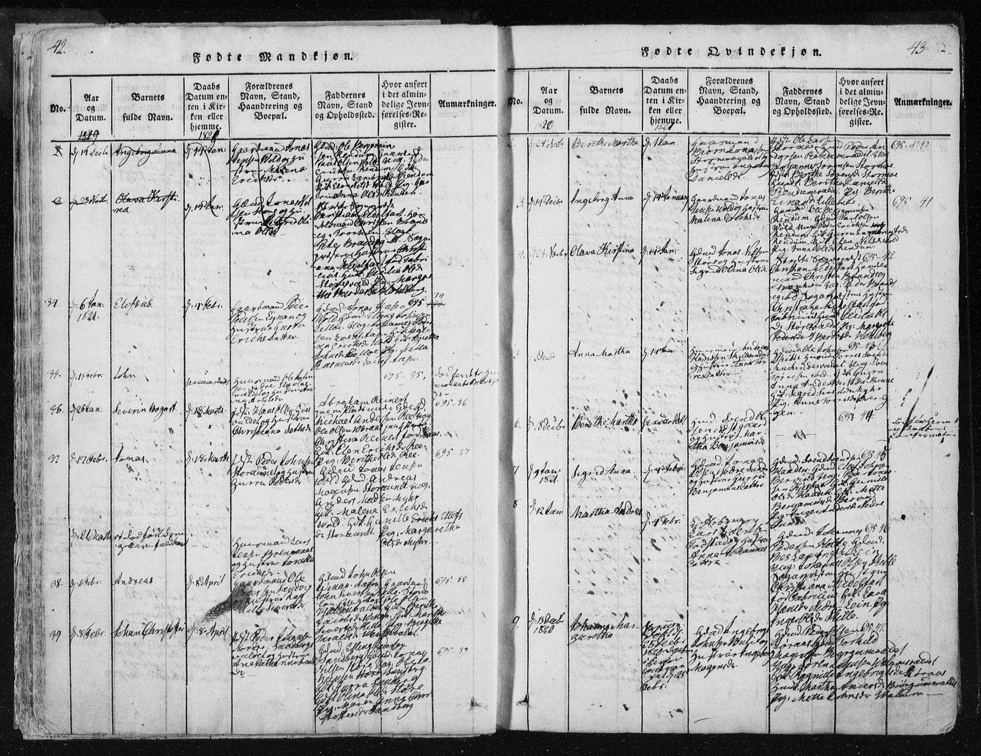 SAT, Ministerialprotokoller, klokkerbøker og fødselsregistre - Nord-Trøndelag, 717/L0148: Ministerialbok nr. 717A04 /1, 1816-1825, s. 42-43