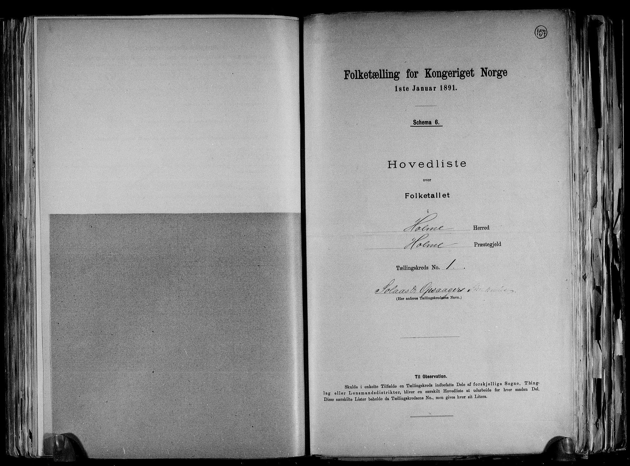 RA, Folketelling 1891 for 1020 Holum herred, 1891, s. 5