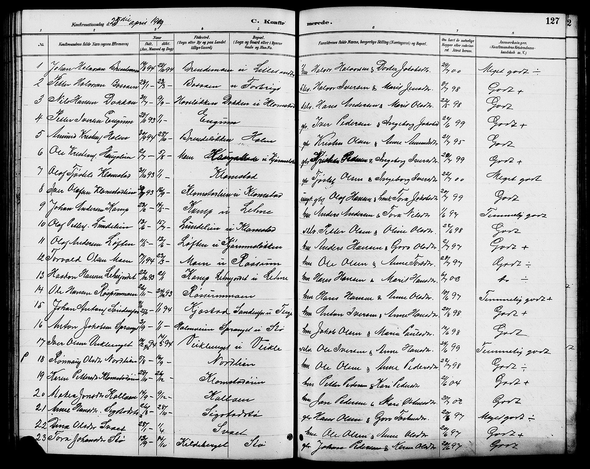 SAH, Nord-Fron prestekontor, Klokkerbok nr. 6, 1887-1914, s. 127