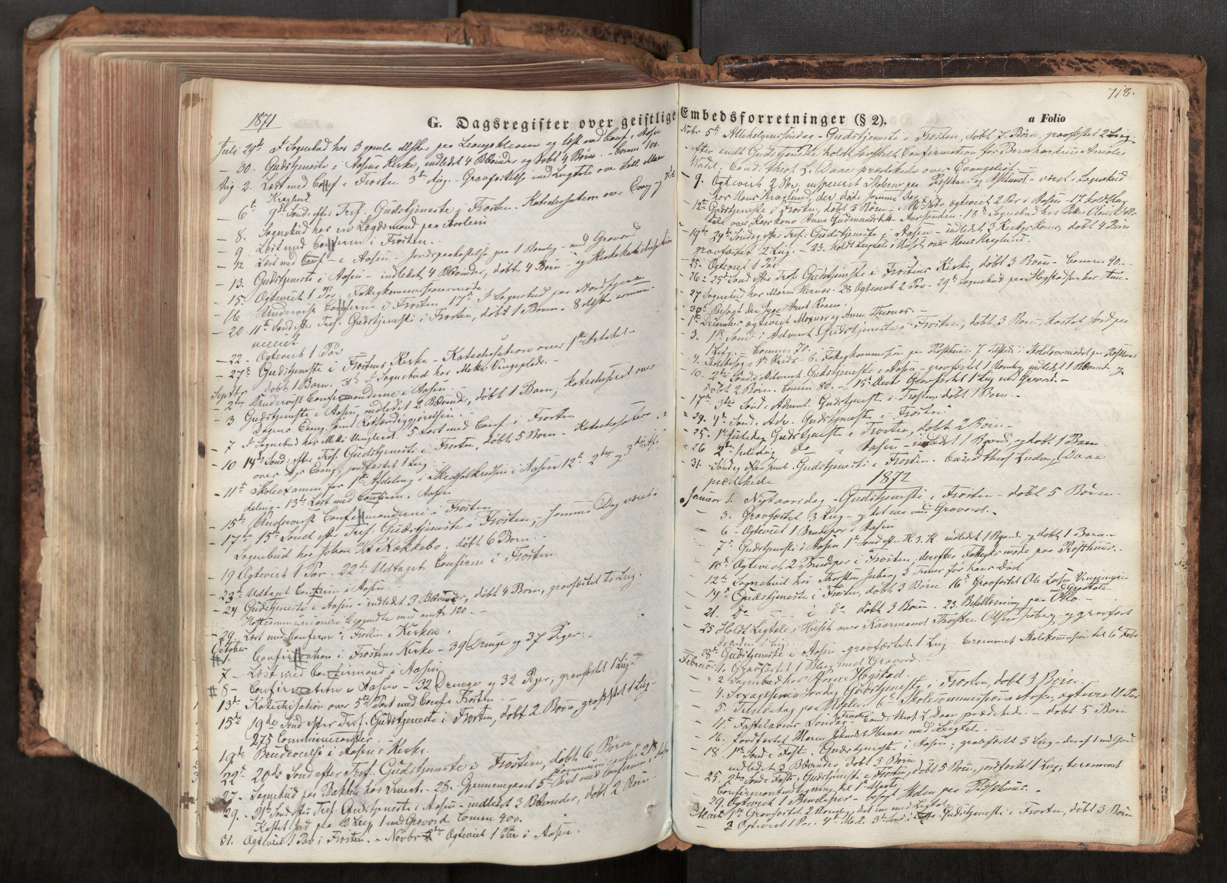 SAT, Ministerialprotokoller, klokkerbøker og fødselsregistre - Nord-Trøndelag, 713/L0116: Ministerialbok nr. 713A07, 1850-1877, s. 718