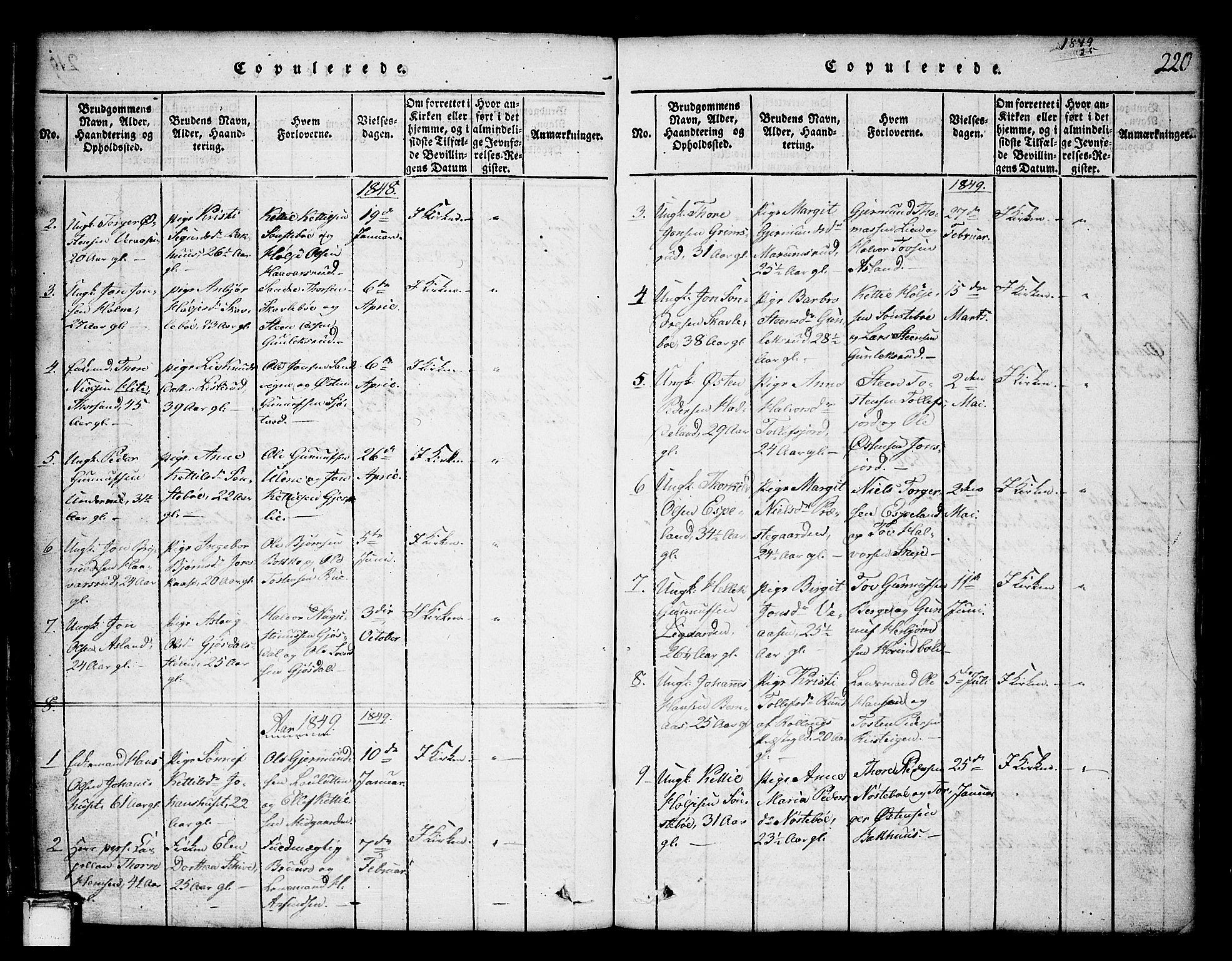 SAKO, Tinn kirkebøker, G/Ga/L0001: Klokkerbok nr. I 1, 1815-1850, s. 220