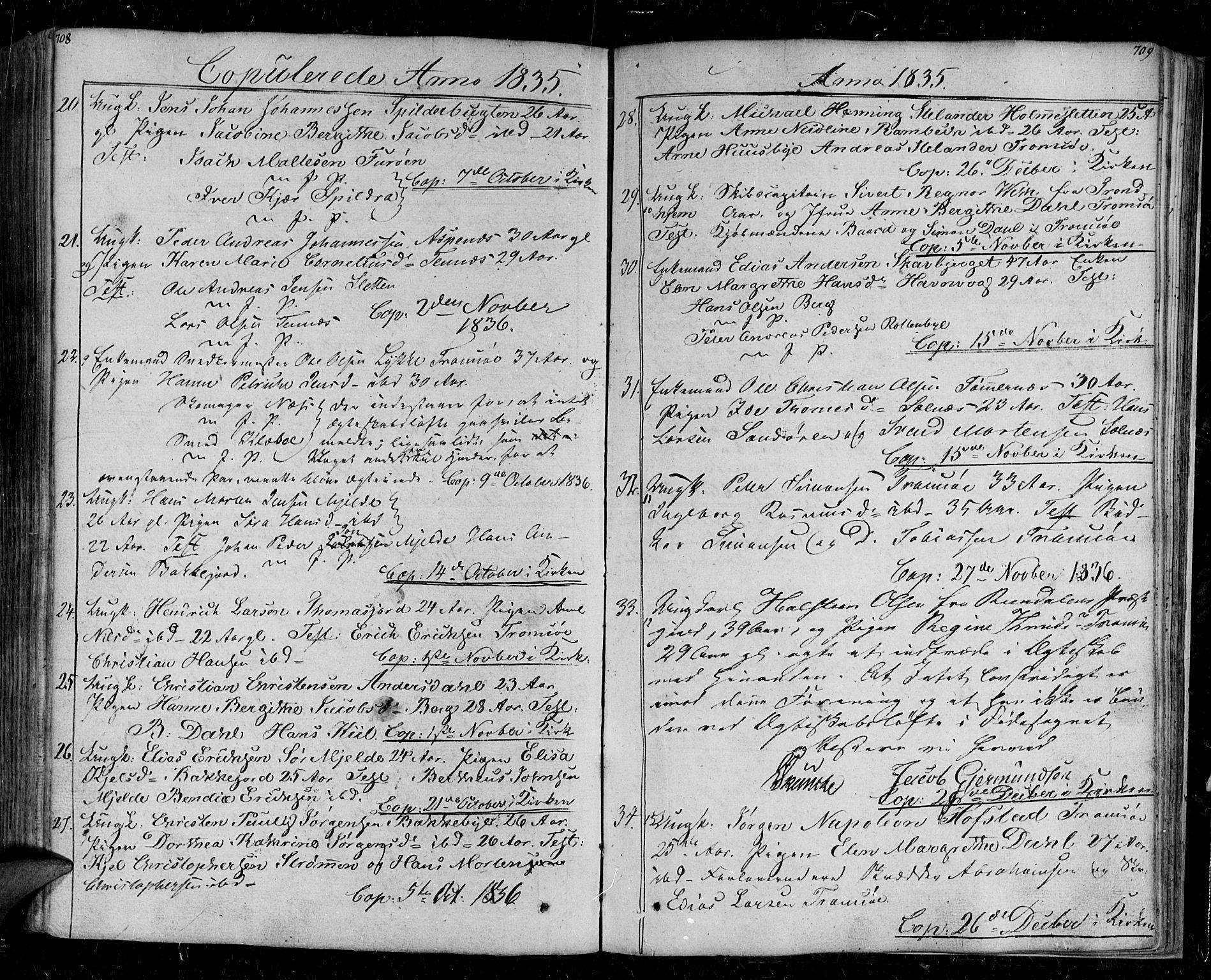 SATØ, Tromsø sokneprestkontor/stiftsprosti/domprosti, G/Ga/L0008kirke: Ministerialbok nr. 8, 1829-1837, s. 708-709