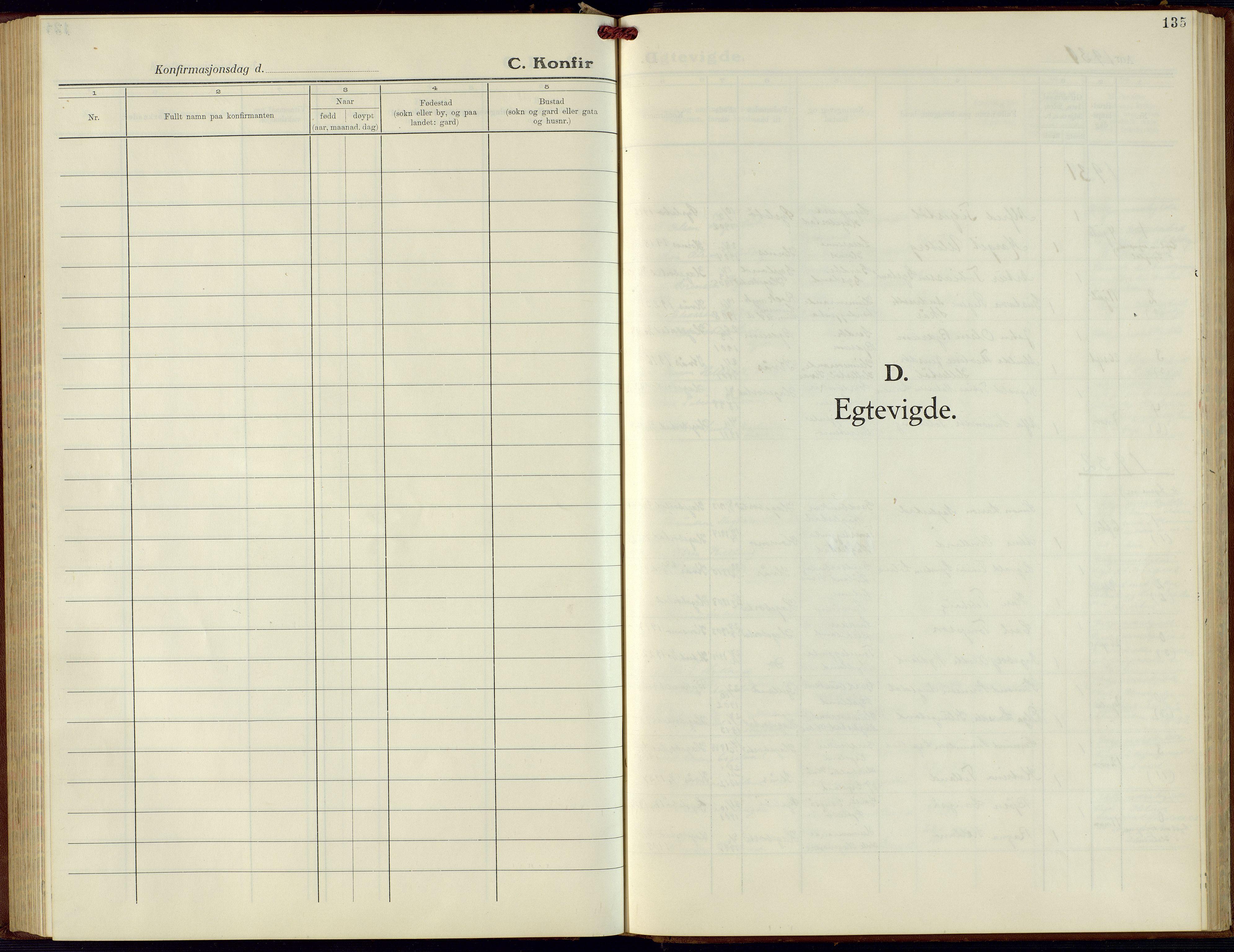 SAK, Hægebostad sokneprestkontor, F/Fb/Fba/L0006: Klokkerbok nr. B 6, 1931-1970, s. 135