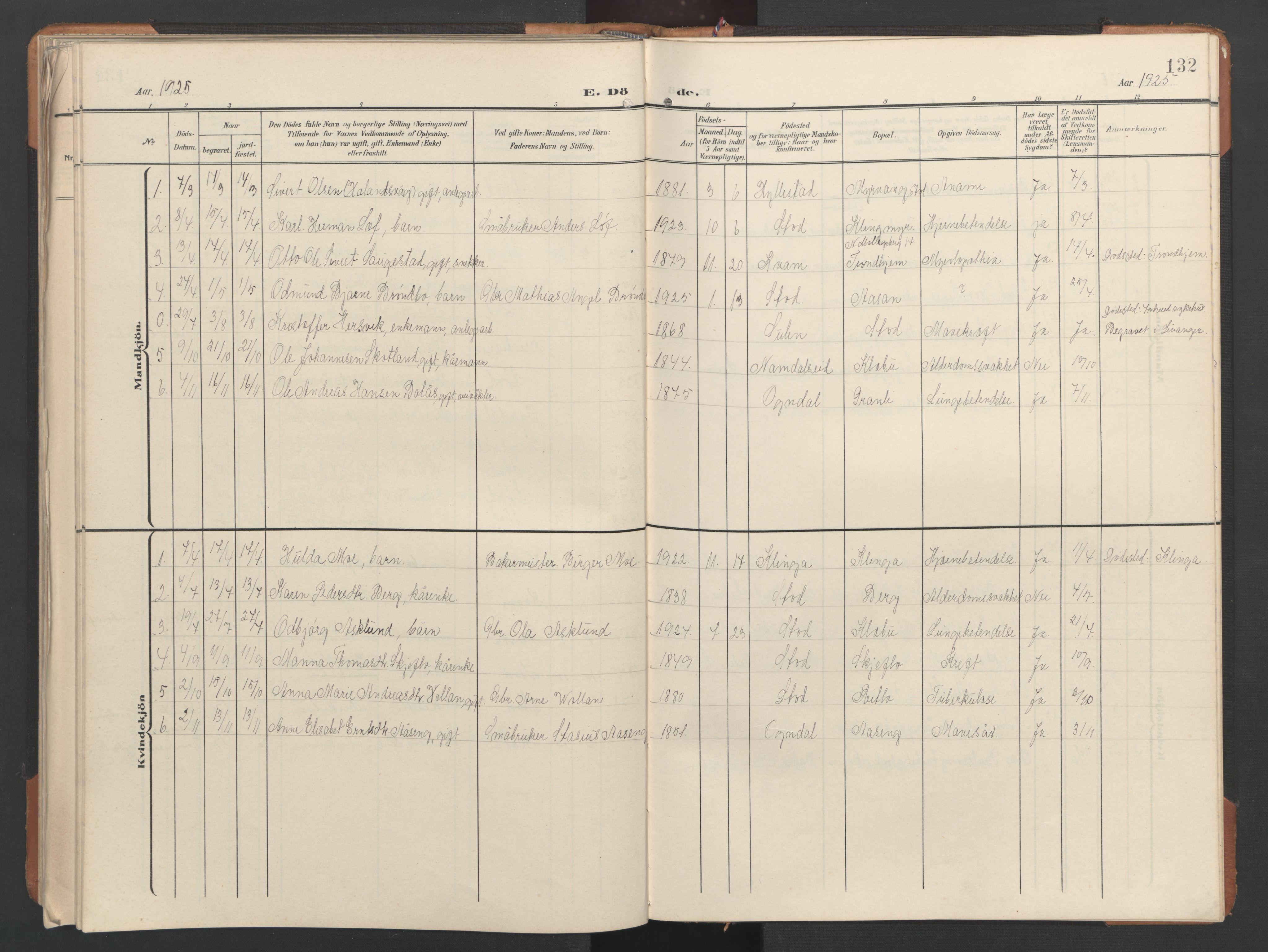 SAT, Ministerialprotokoller, klokkerbøker og fødselsregistre - Nord-Trøndelag, 746/L0455: Klokkerbok nr. 746C01, 1908-1933, s. 132