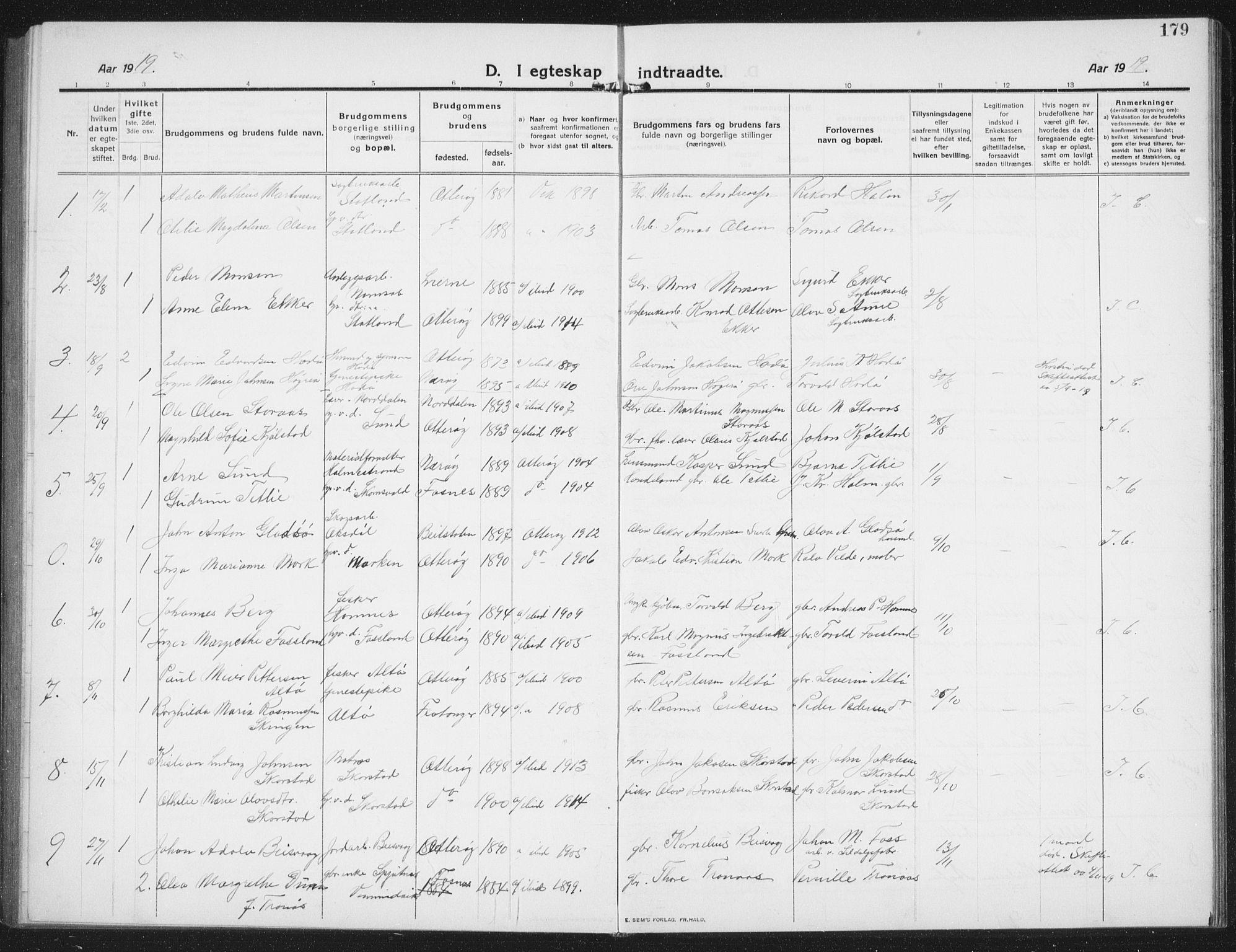 SAT, Ministerialprotokoller, klokkerbøker og fødselsregistre - Nord-Trøndelag, 774/L0630: Klokkerbok nr. 774C01, 1910-1934, s. 179
