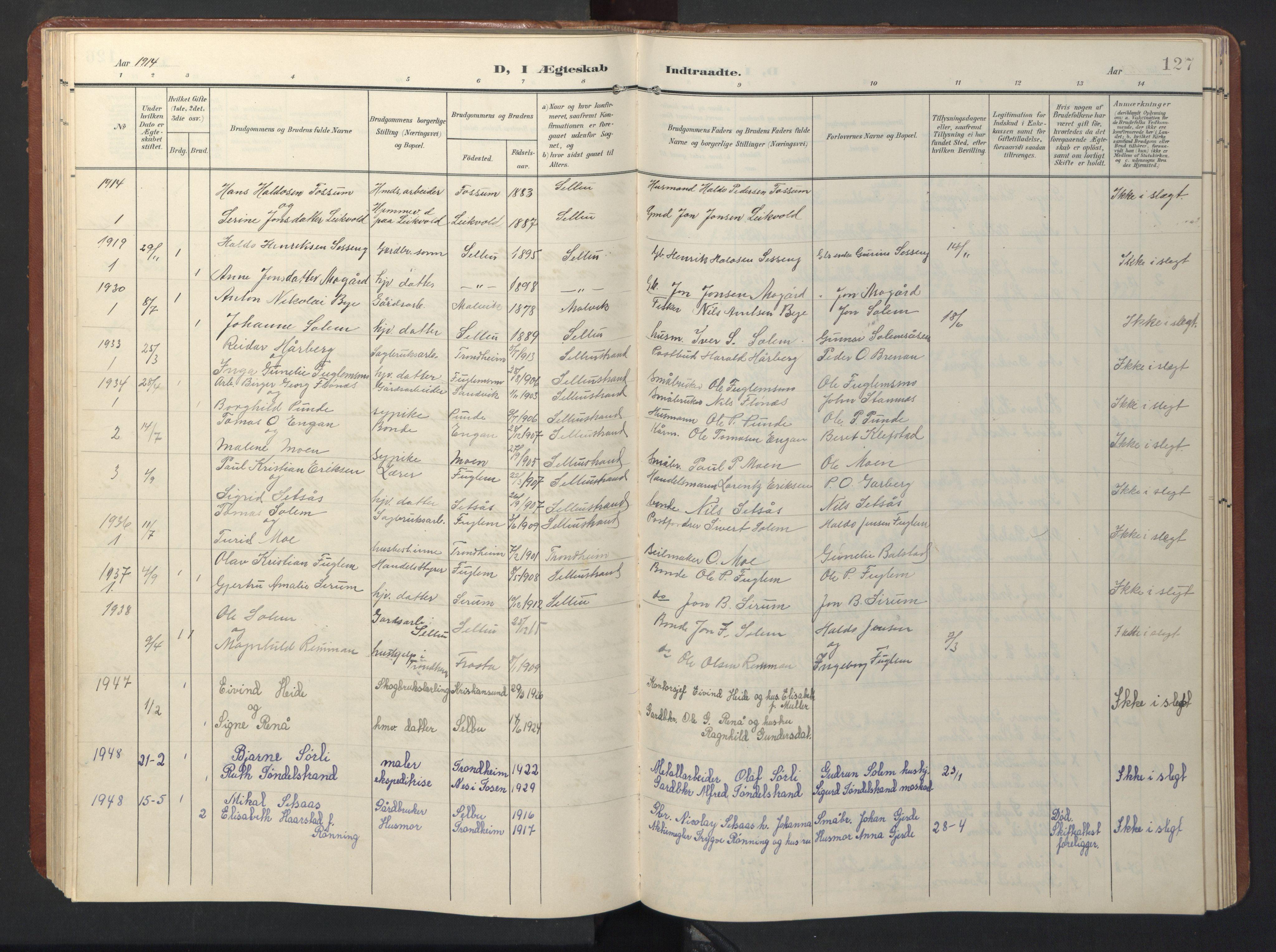SAT, Ministerialprotokoller, klokkerbøker og fødselsregistre - Sør-Trøndelag, 696/L1161: Klokkerbok nr. 696C01, 1902-1950, s. 127