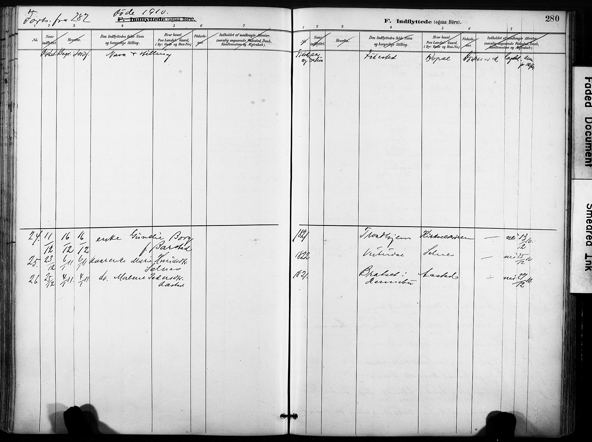 SAT, Ministerialprotokoller, klokkerbøker og fødselsregistre - Sør-Trøndelag, 630/L0497: Ministerialbok nr. 630A10, 1896-1910, s. 280